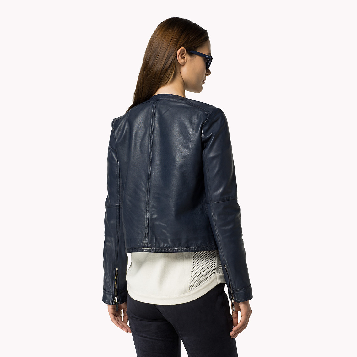 Tommy Hilfiger Textured Collarless Leather Jacket In Blue | Lyst