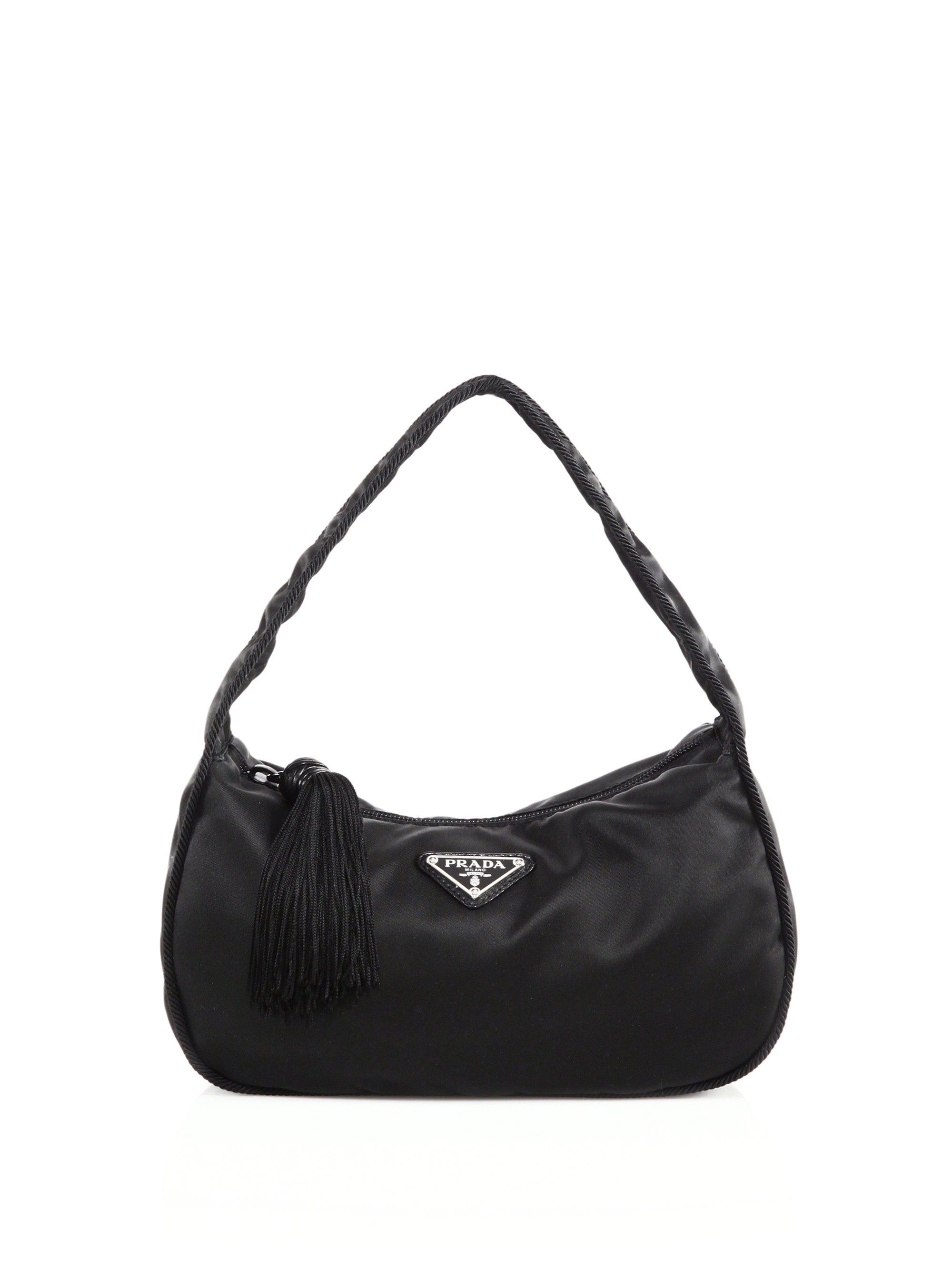 118b21664862 Lyst - Prada Nylon Crescent Shoulder Bag in Black