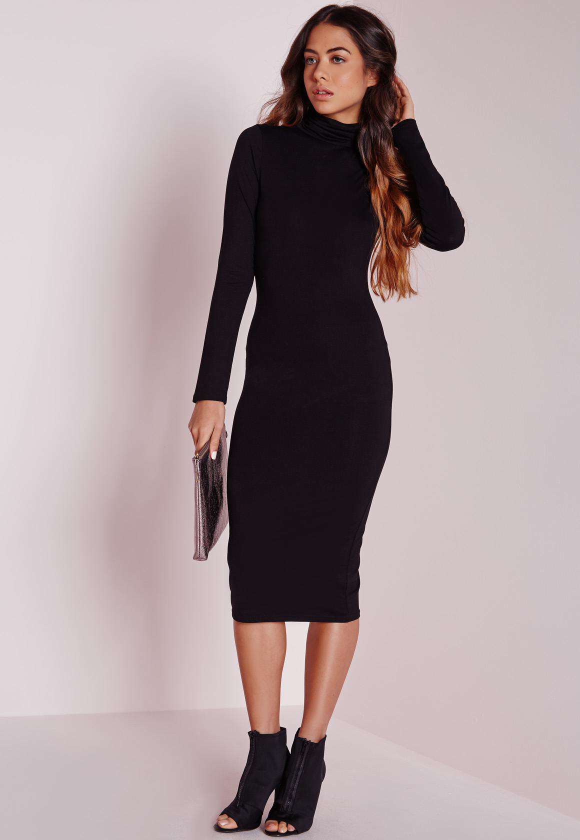 2a181ca2b7 Lyst - Missguided Long Sleeve Roll Neck Jersey Midi Dress Black in Black