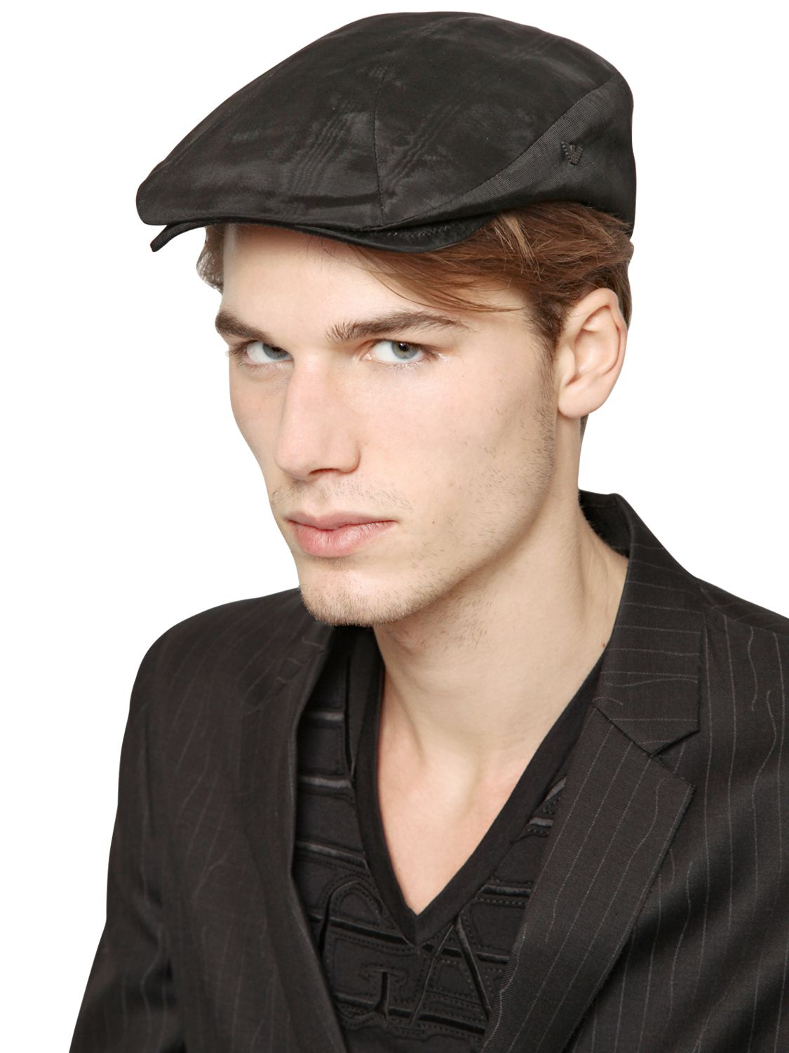 95f9d0de185 Lyst - Emporio Armani Viscose Moire  Flat Cap in Black for Men