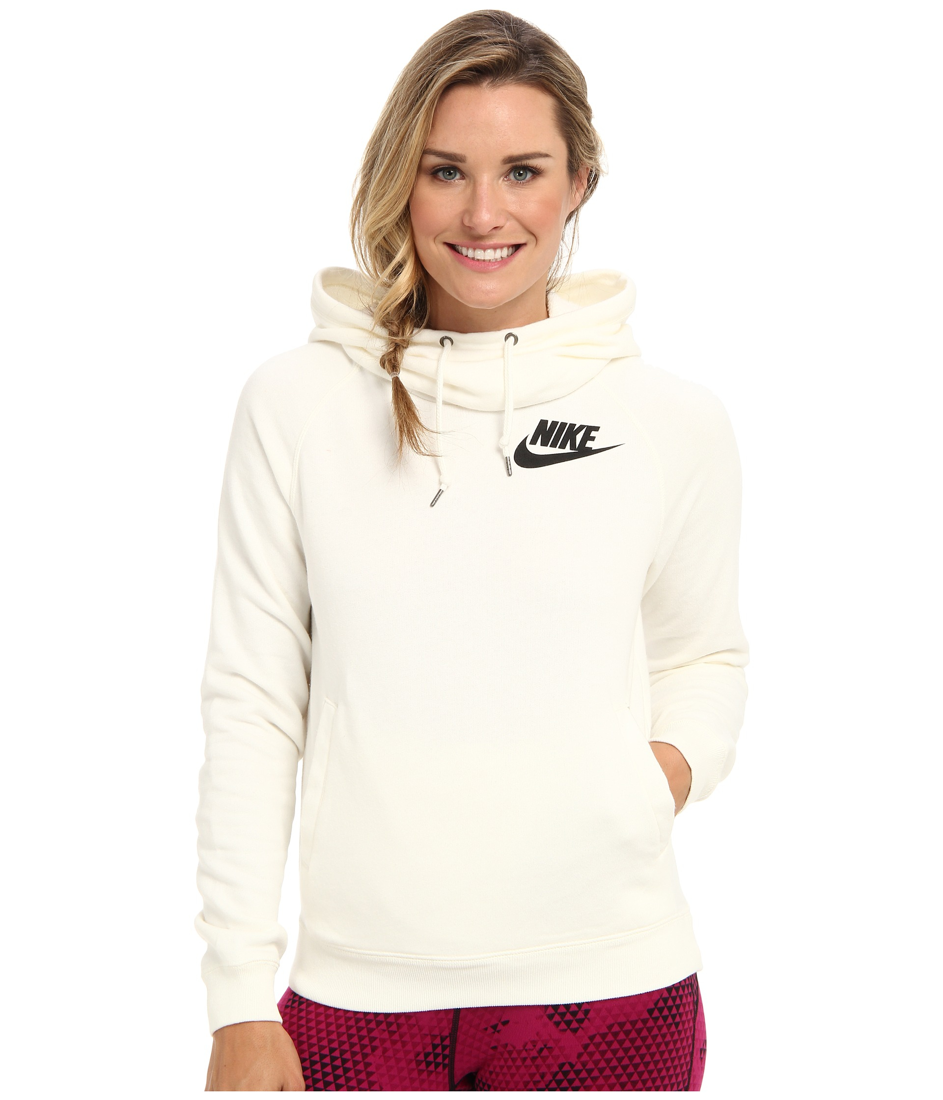 Lyst - Nike Rally Funnel Neck Hoodie in Natural 3516330bc