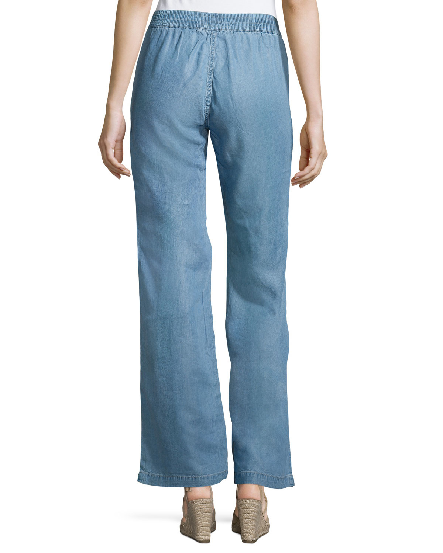 Nanette nanette lepore Wide-leg Denim Pants in Blue | Lyst