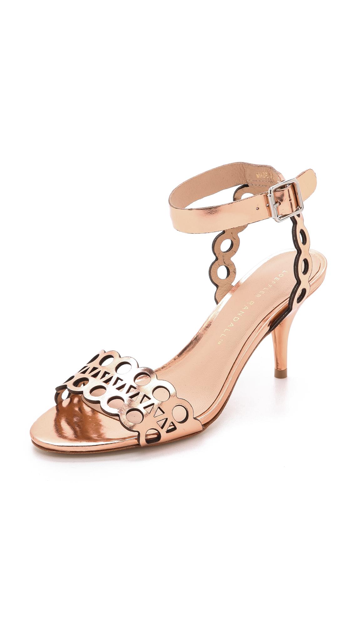 Loeffler randall Opal Kitten Heel Sandals Copper in Metallic | Lyst