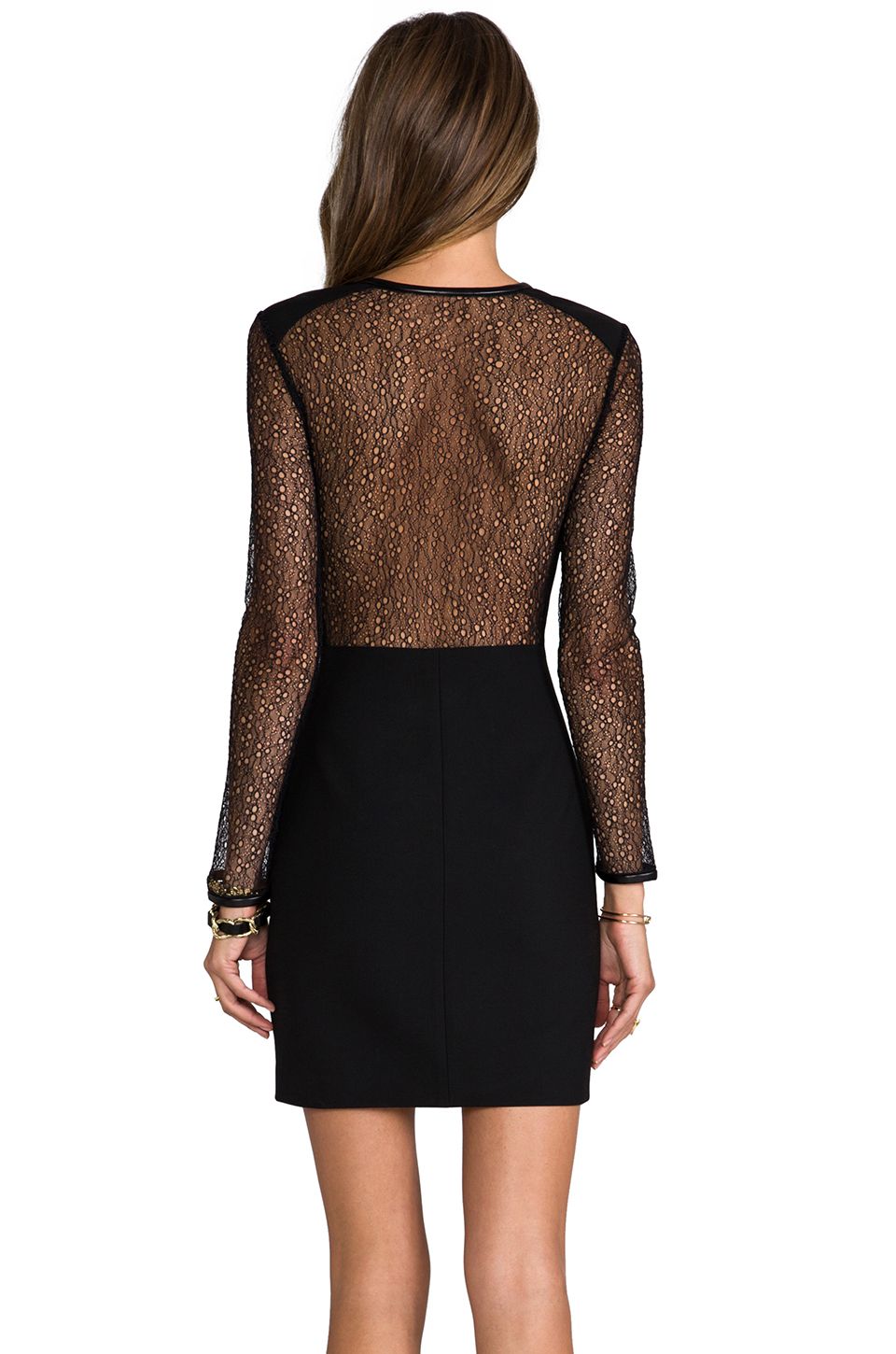 Robert rodriguez Lace Back Dress in Black in Black | Lyst