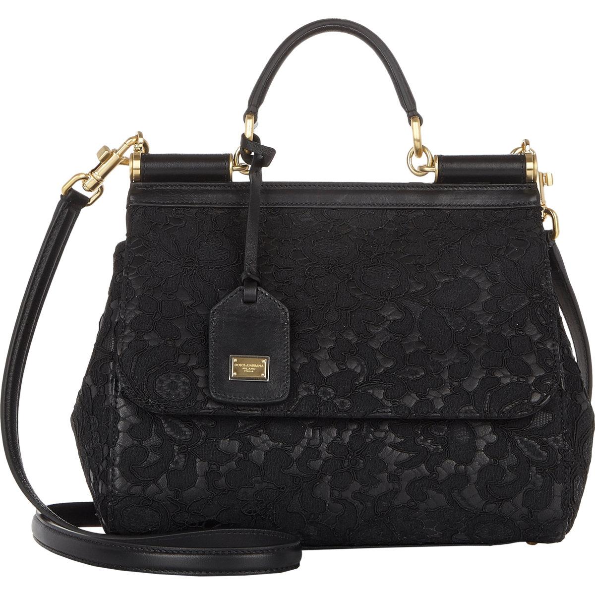 Dolce & gabbana Lace Medium Miss Sicily Bag in Black