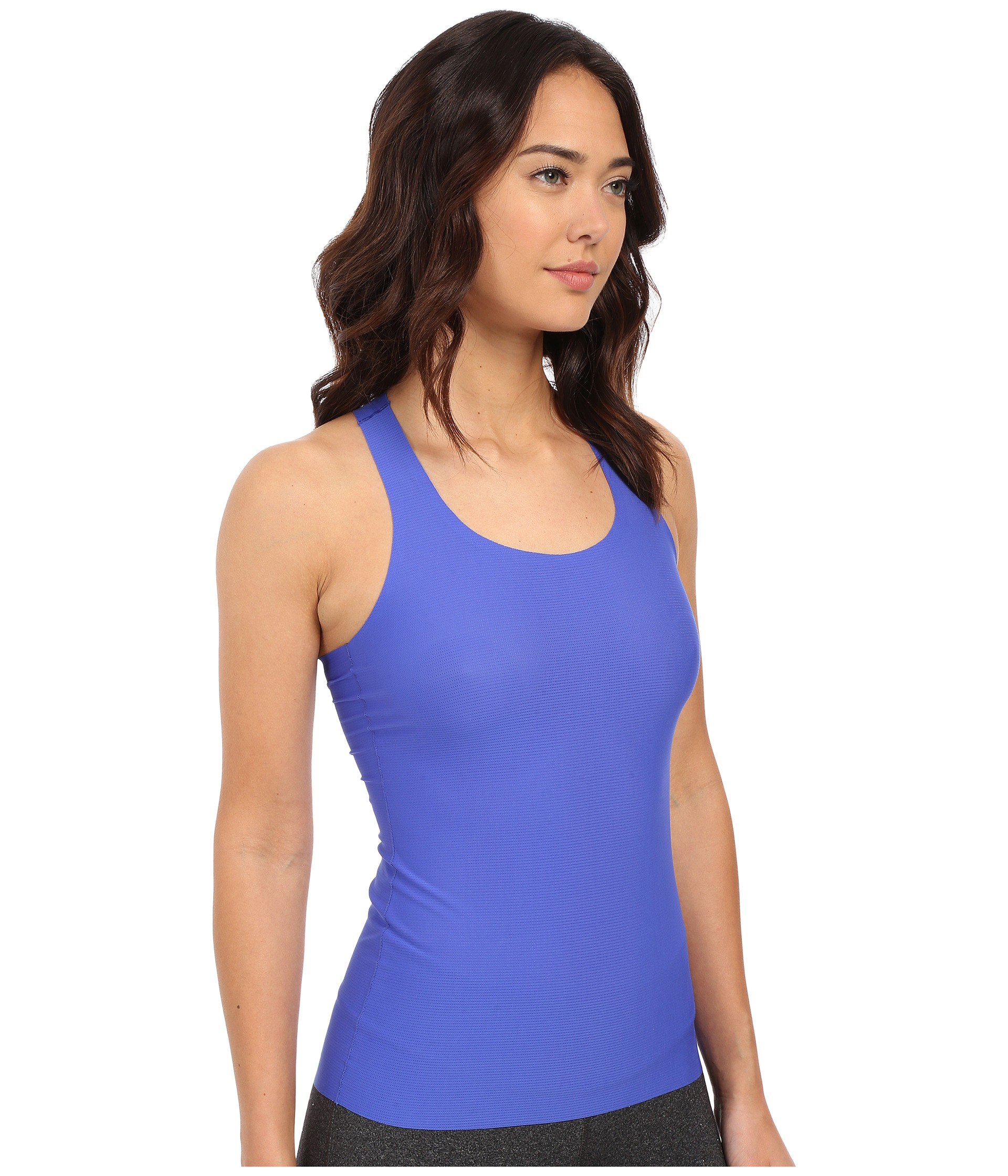 1a8cd2d5365c9 Lyst - Spanx Perforated Racerback Tank Top in Blue
