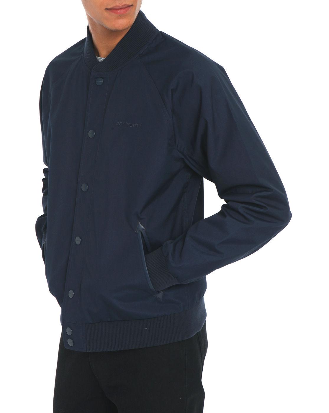 Carhartt Strike Navy Cotton Baseball Jacket In Blue For