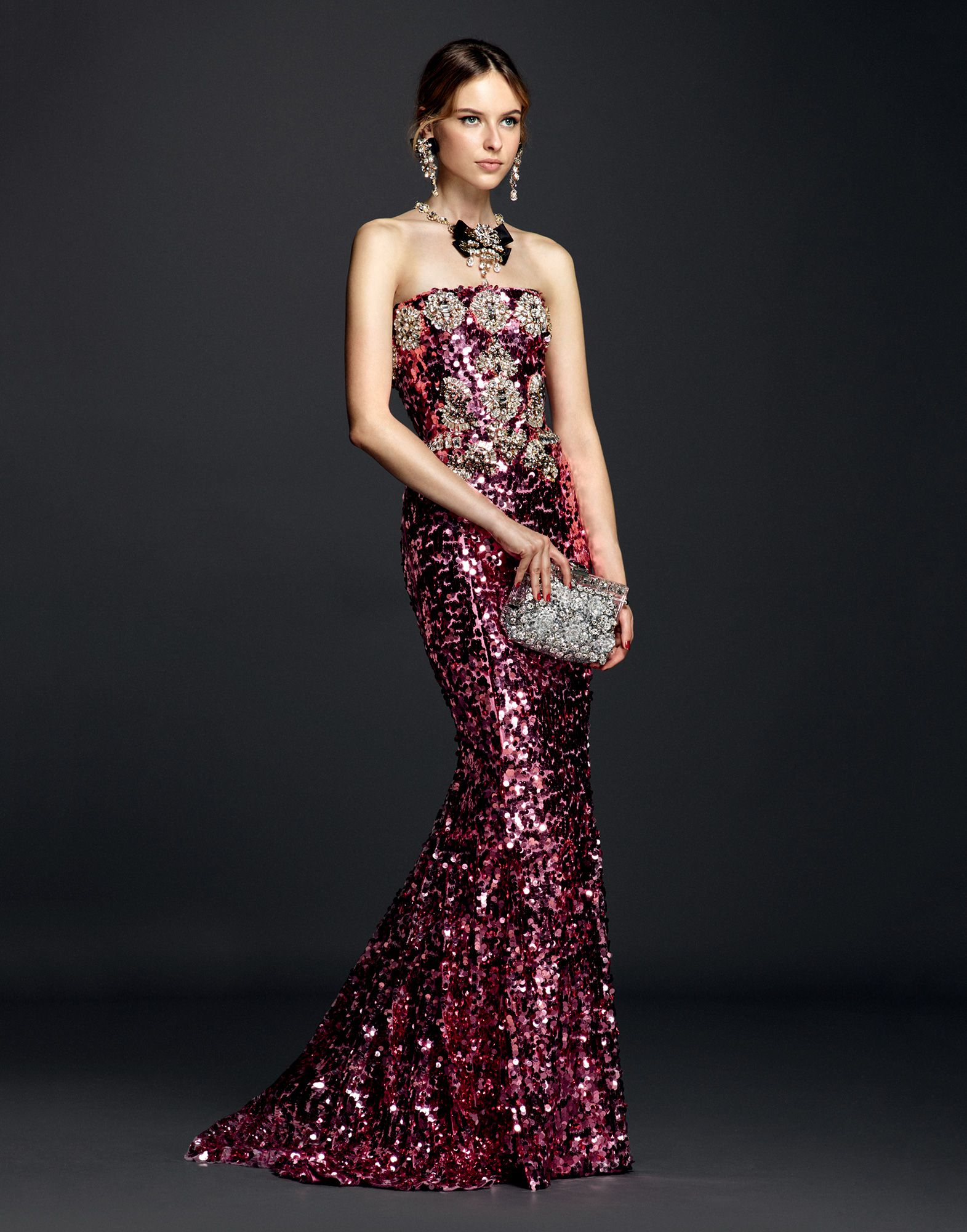 Lyst - Dolce & Gabbana Sequin Gown With Crystals And Jeweled Belt in ...