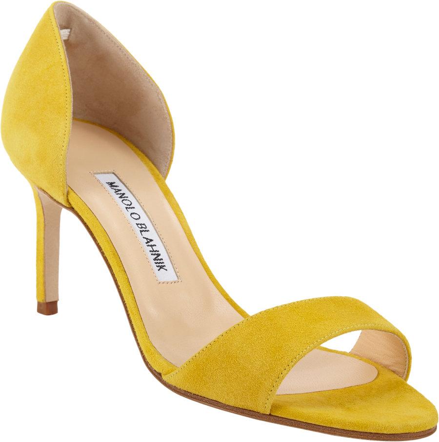 Lyst Manolo Blahnik Catalina Dorsay Sandal In Yellow