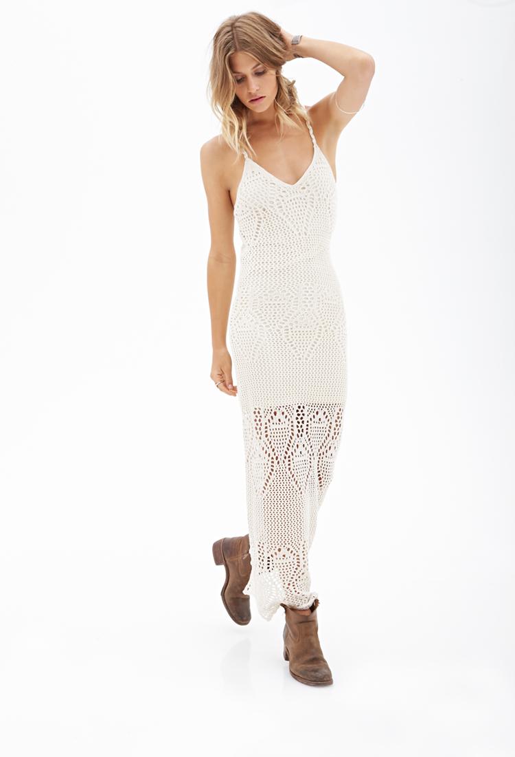 5d0296d953d Lyst - Forever 21 Crochet Maxi Dress in Natural