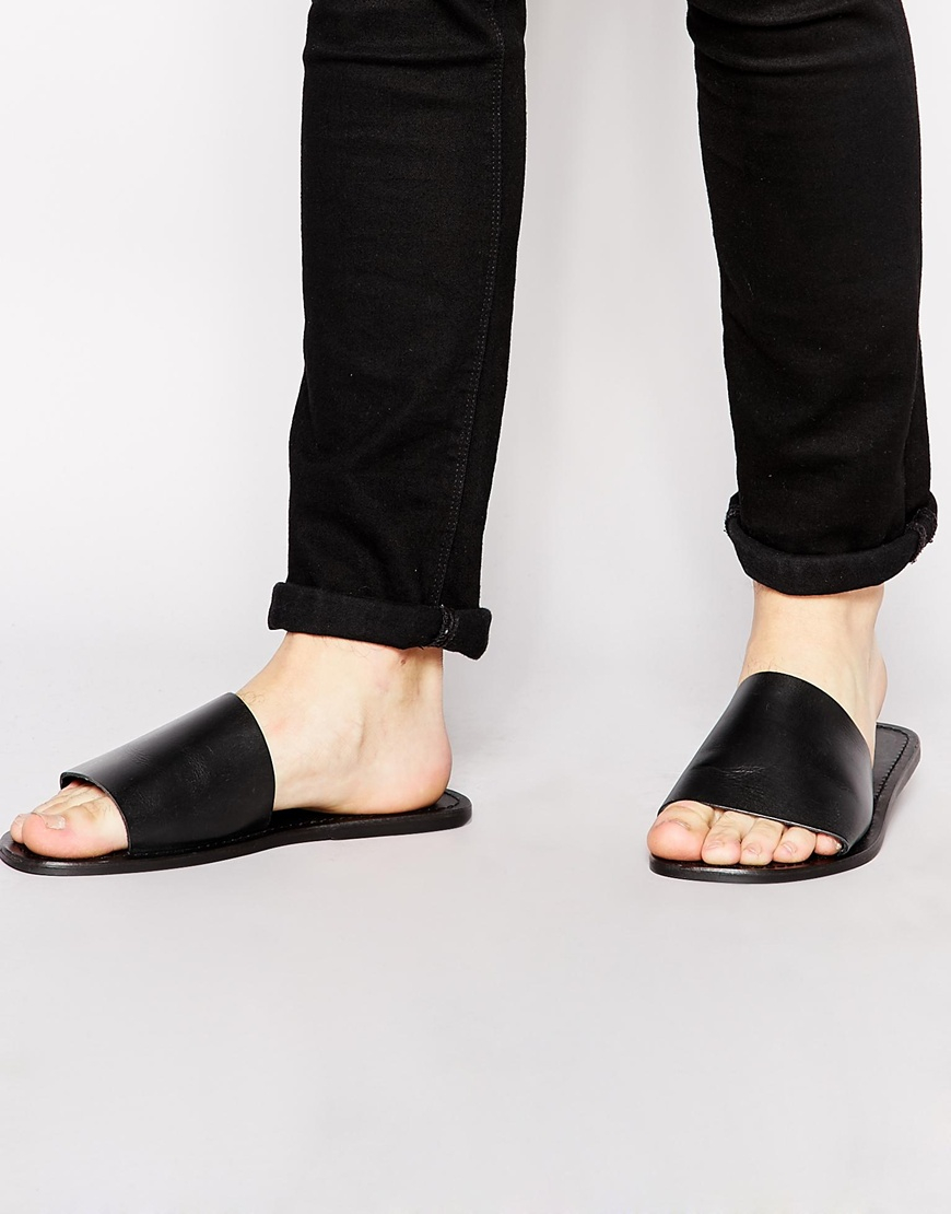 in in Slide Asos Sandals for In Lyst Leather Leather Leather Men Black Ogw7xqvH