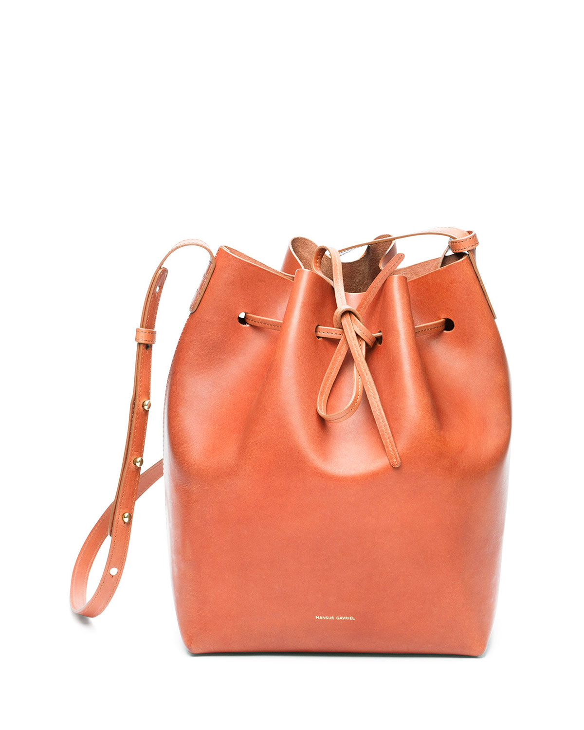 lyst mansur gavriel leather bucket bag in brown. Black Bedroom Furniture Sets. Home Design Ideas