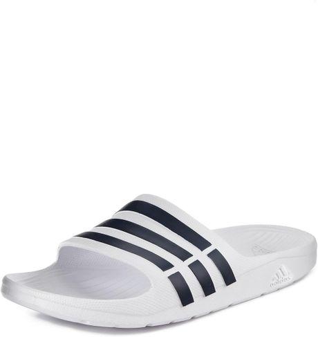 adidas duramo slide flip flops in white for men white. Black Bedroom Furniture Sets. Home Design Ideas