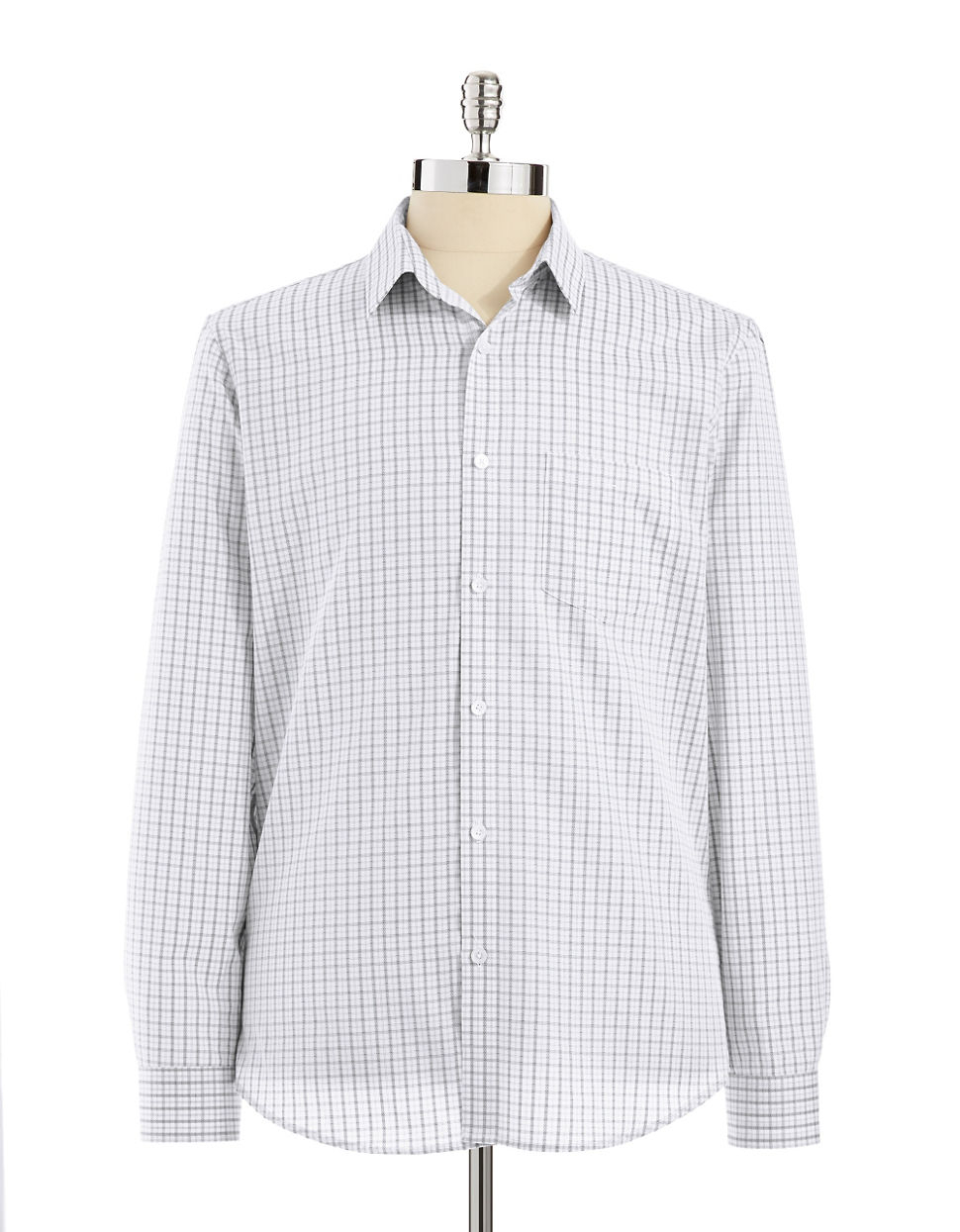 Calvin klein slim fit button down shirt in white for men for Calvin klein athletic fit dress shirt