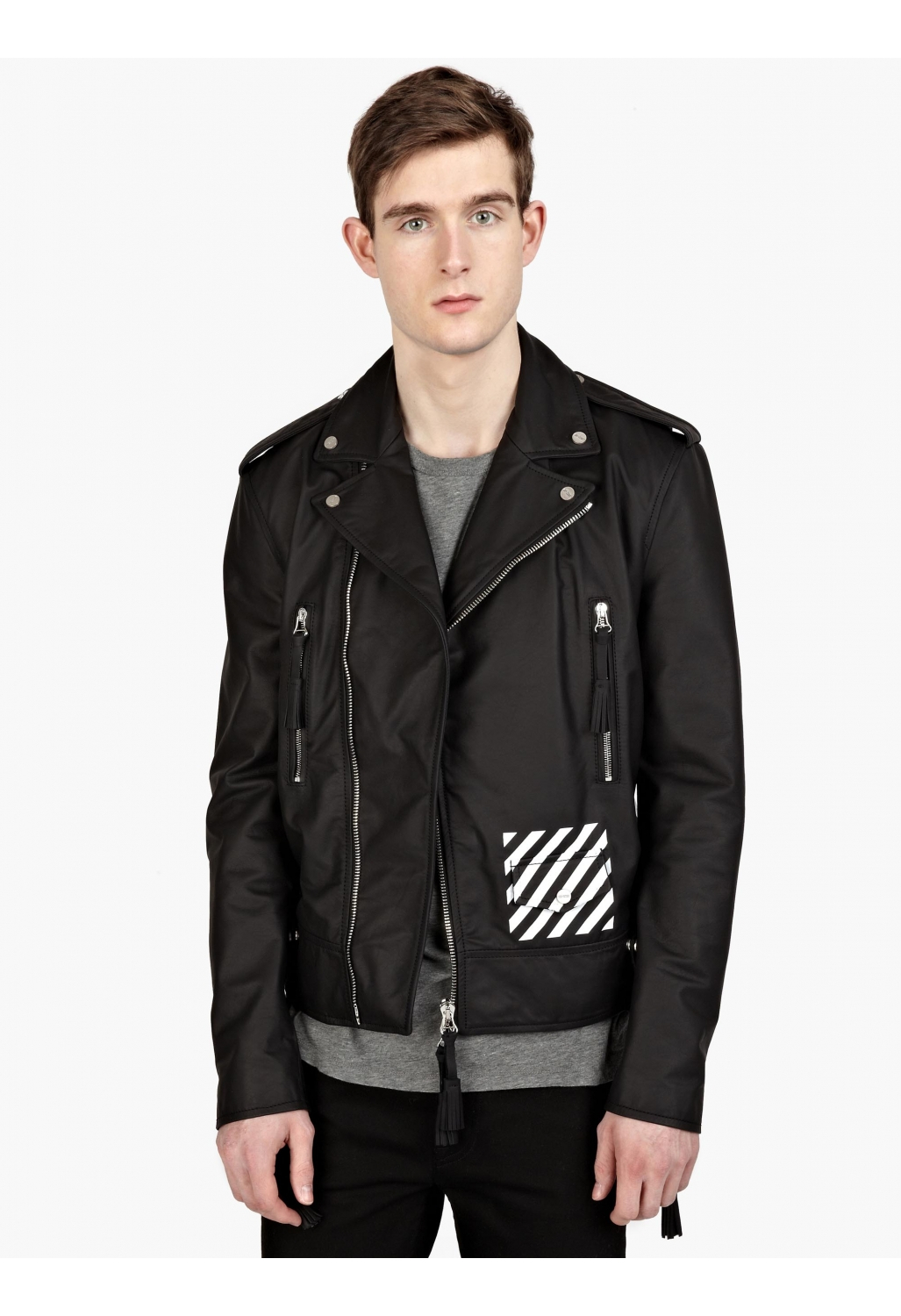 off white c o virgil abloh men s printed leather biker jacket in black for men lyst. Black Bedroom Furniture Sets. Home Design Ideas
