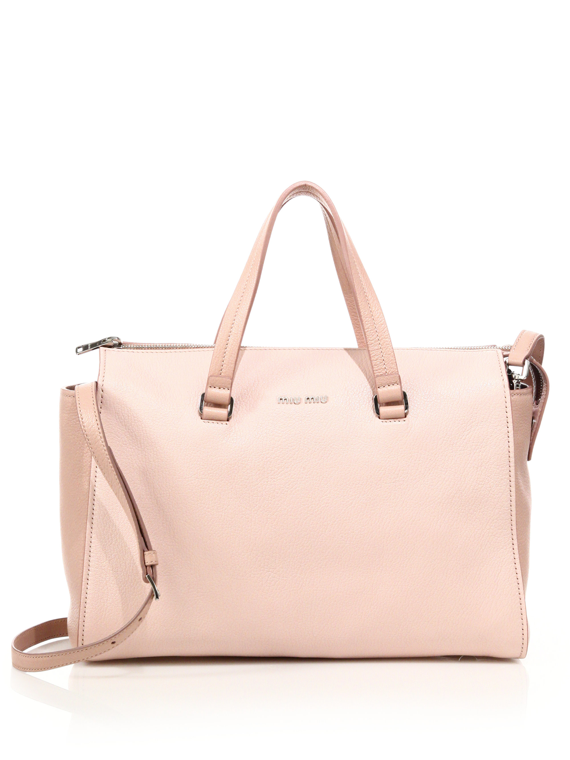 837bb7bf2a0a Top Lyst - Miu Miu Madras Two-tone Leather Zip Satchel in Pink IE03