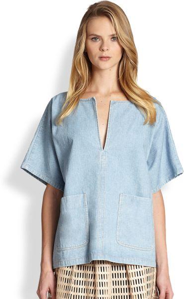 Rachel Comey Oversized Denim Top in Blue (BLEACHED)