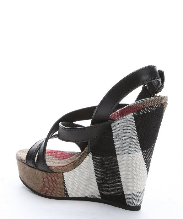 Gallery - Burberry Black Leather And Check Canvas 'warlow' Platform Wedge