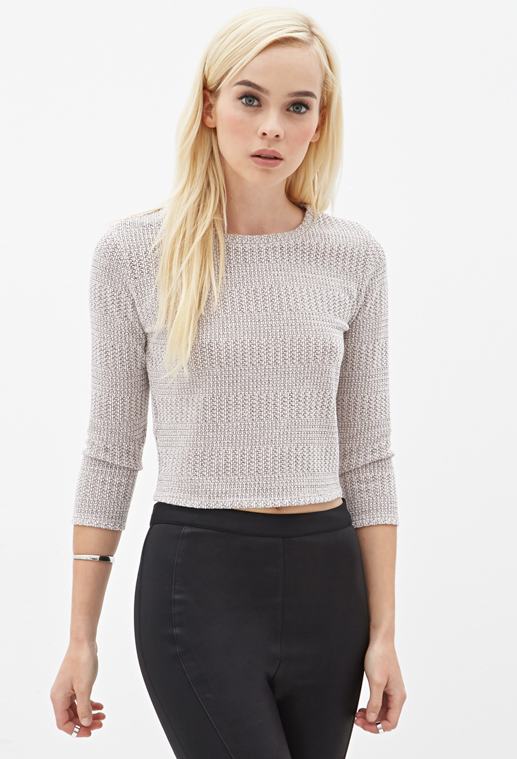 Lyst - Forever 21 Open-knit Cropped Sweater in Pink