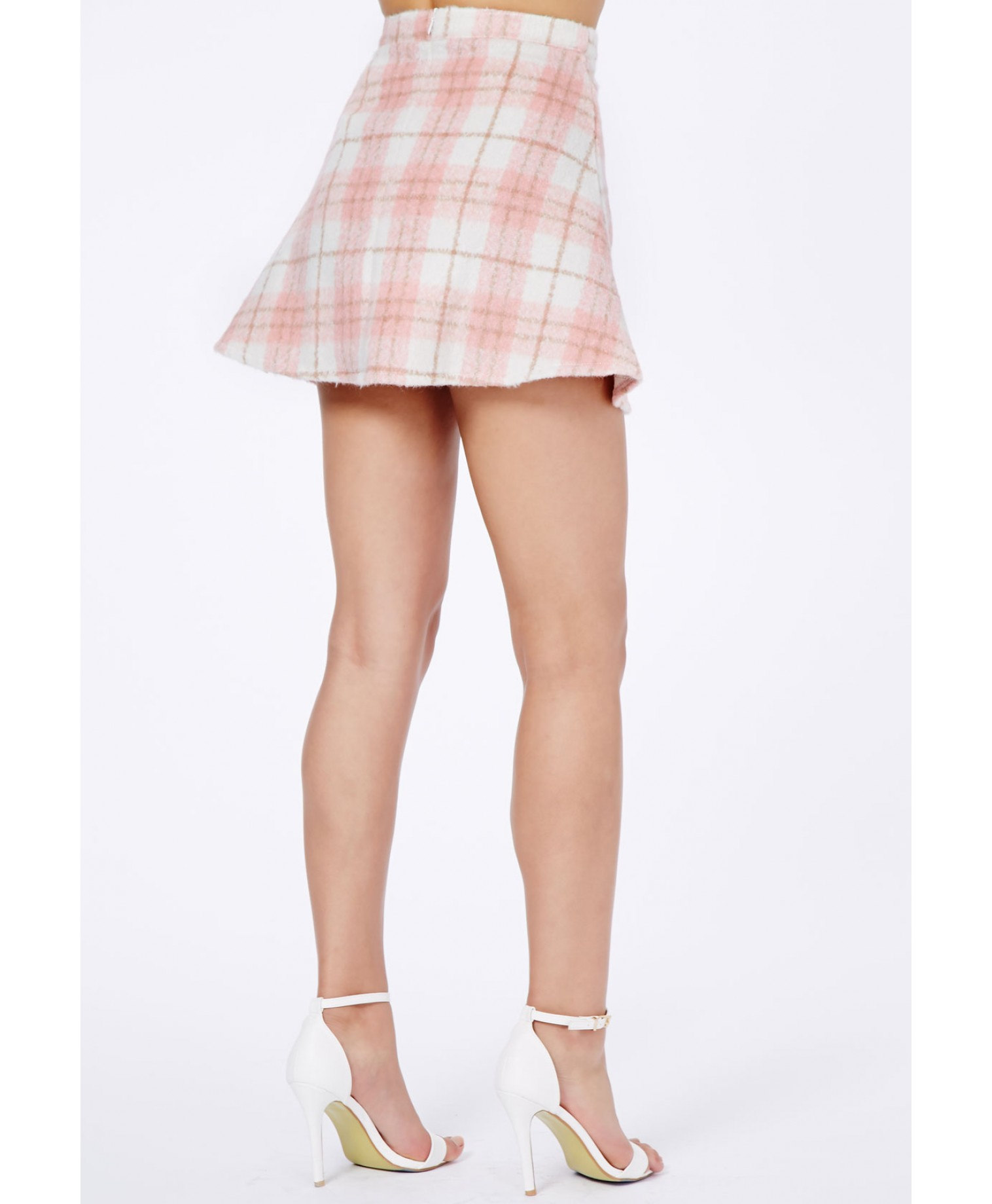missguided marlee tartan a line skirt in baby pink in pink