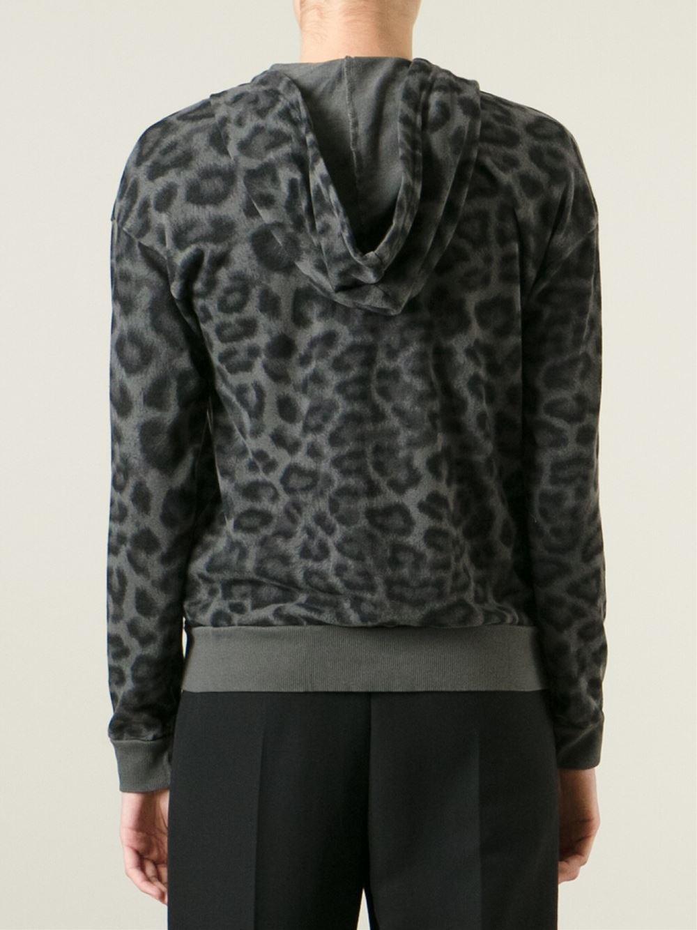 Splendid Leopard-Print Cotton Hoodie in Grey (Gray) - Lyst