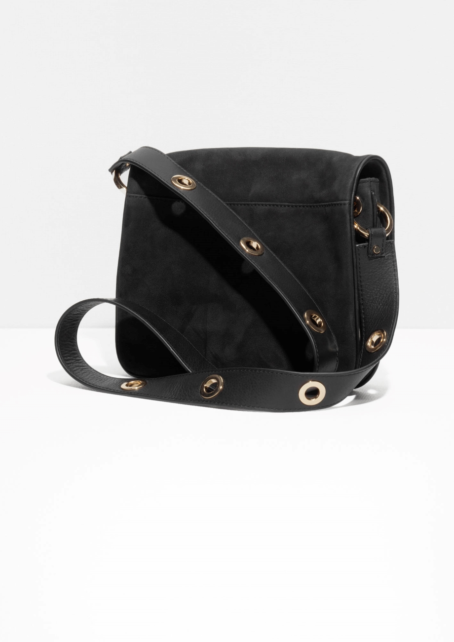 Other Stories Eyelet Strap Leather Bag in Black - Lyst 26c98dd26a7bd