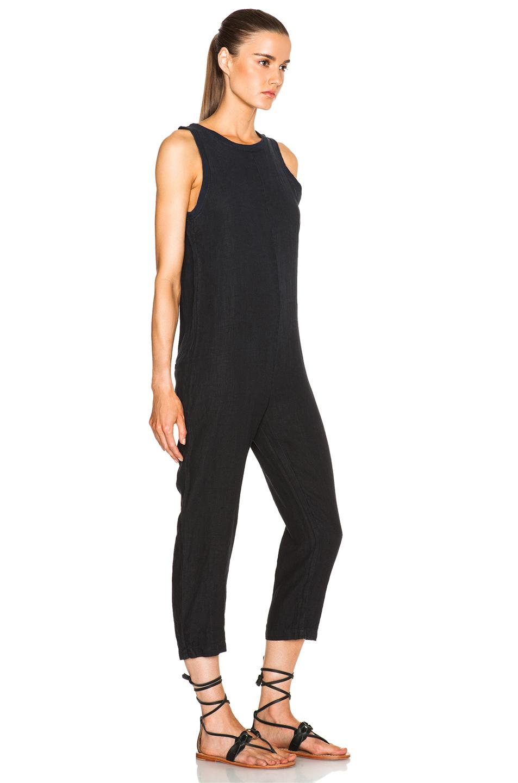 Lyst Enza Costa Linen Sleeveless Jumpsuit In Black