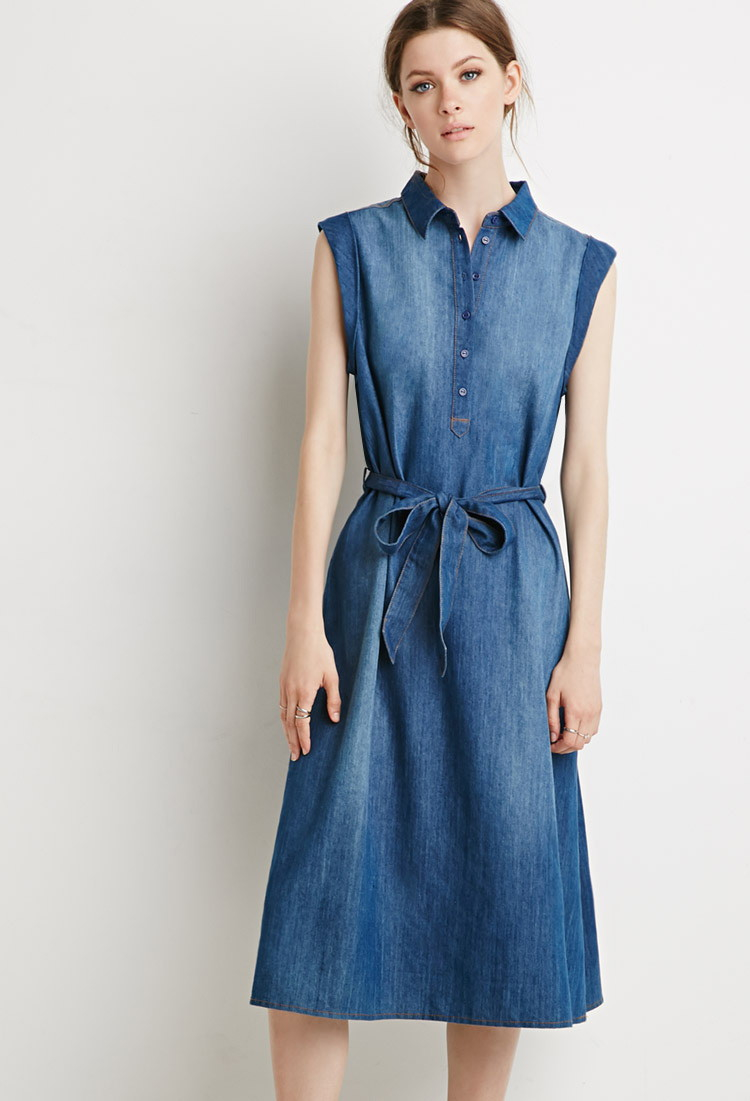 Forever 21 Belted Chambray Popover Dress In Blue Lyst