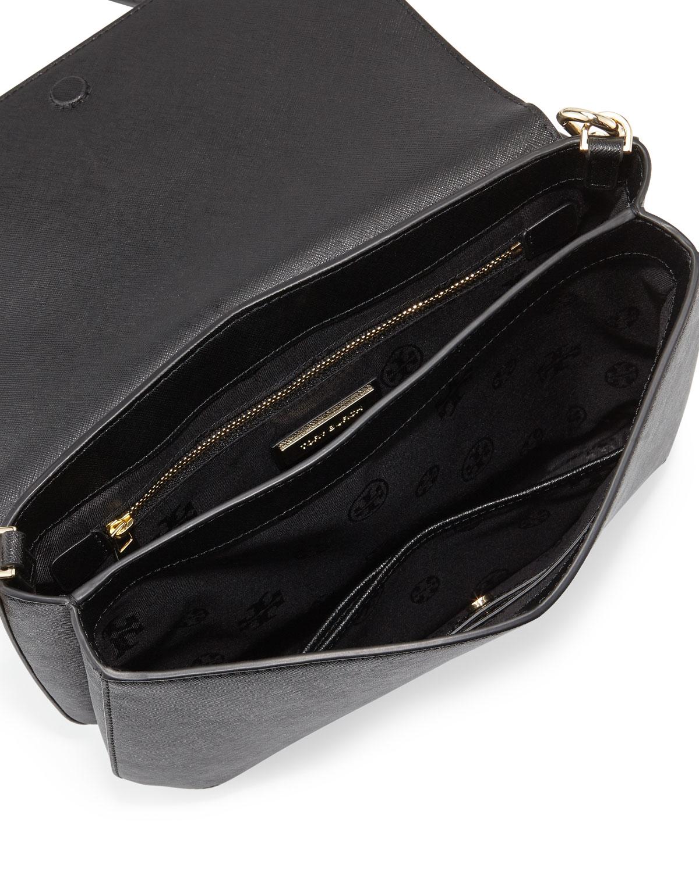 818c889c0f Lyst - Tory Burch Robinson Leather Messenger Bag in Black