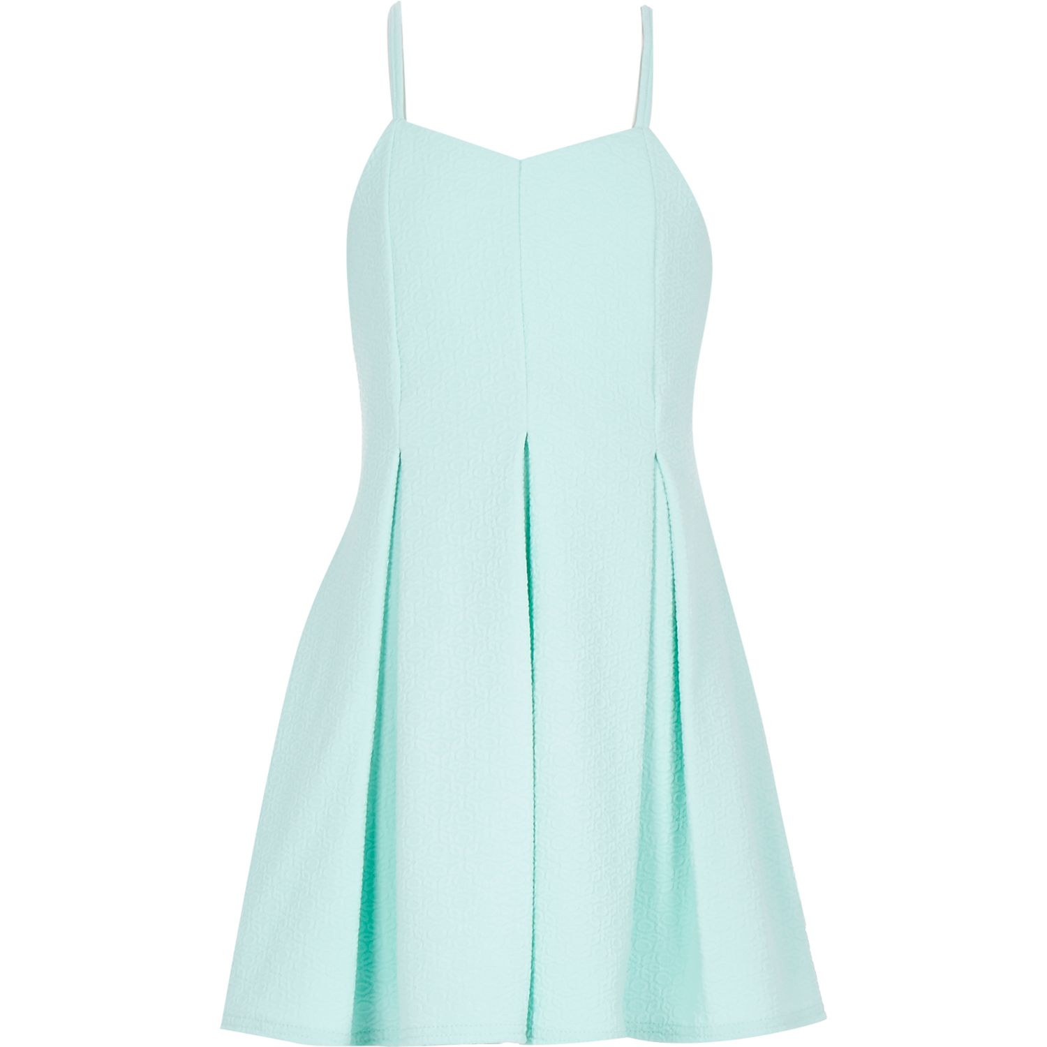 River island Girls Mint Jacquard Strappy Party Dress in ...