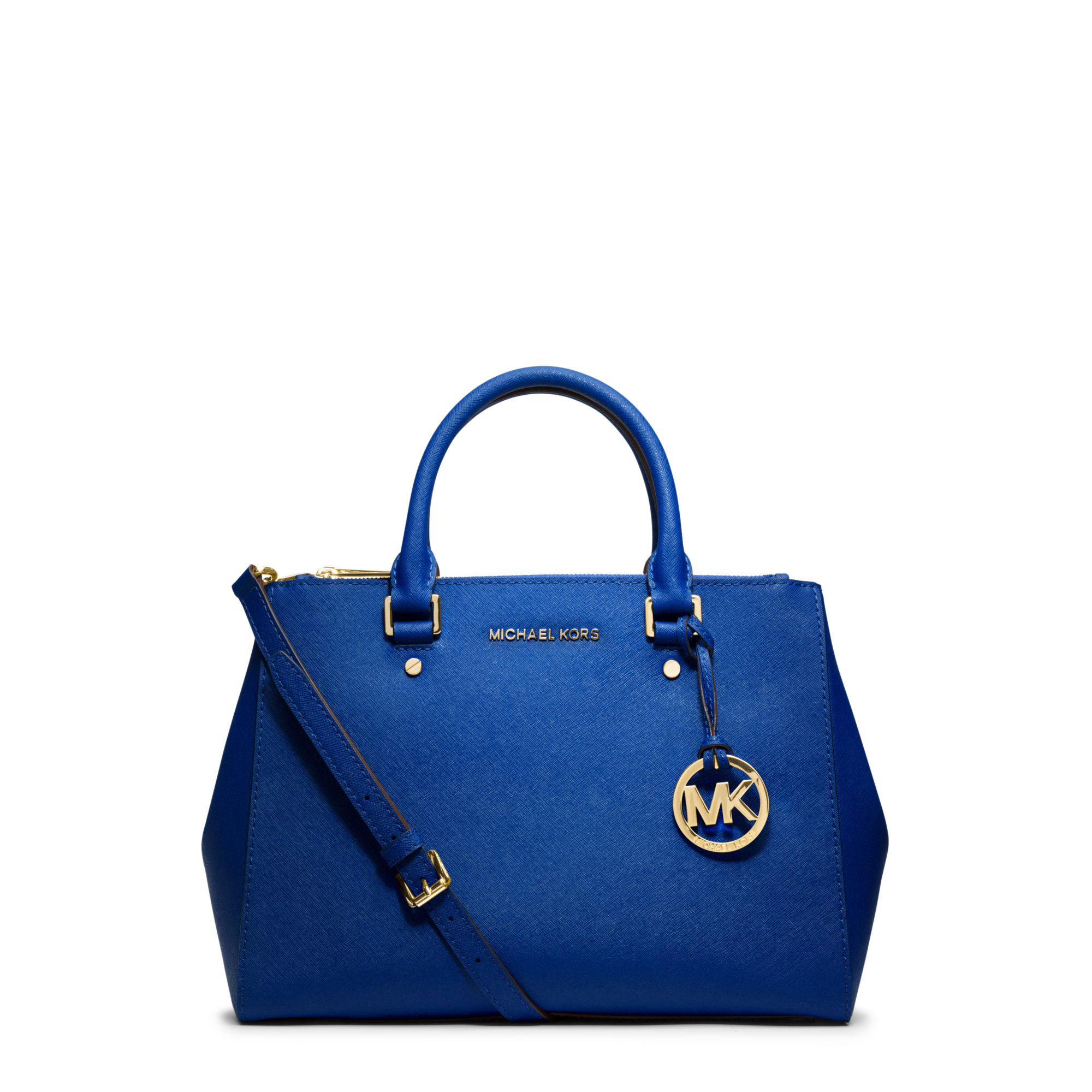 542310b173d5 Michael Kors Sutton Medium Saffiano Leather Satchel in Blue - Lyst