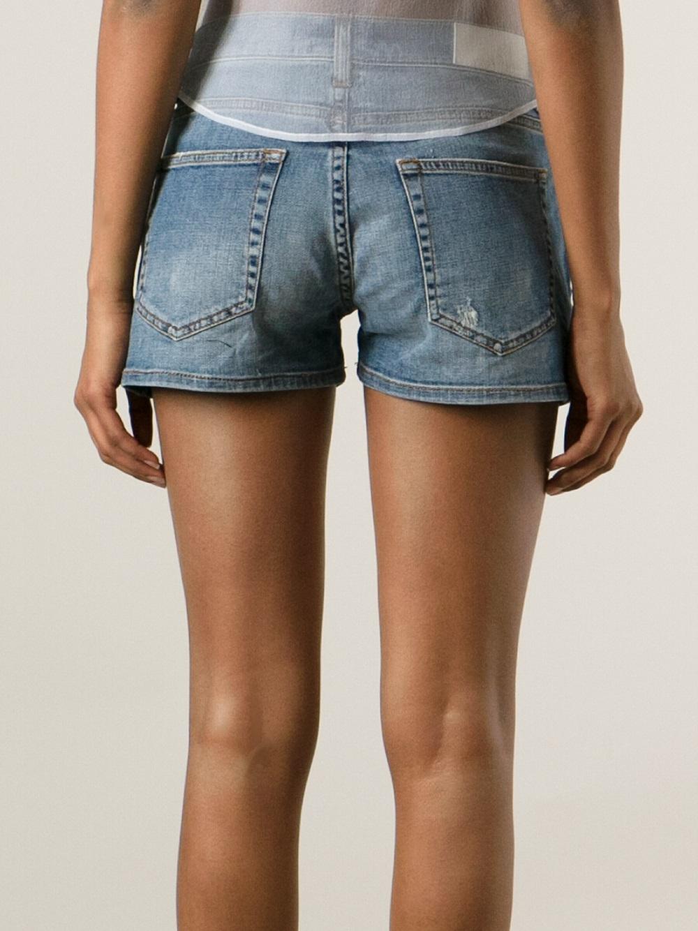 Lyst Victoria Beckham Distressed Denim Shorts In Blue