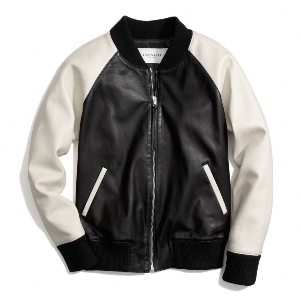 f89e096822d Lyst Coach Leather Varsity Jacket In Natural