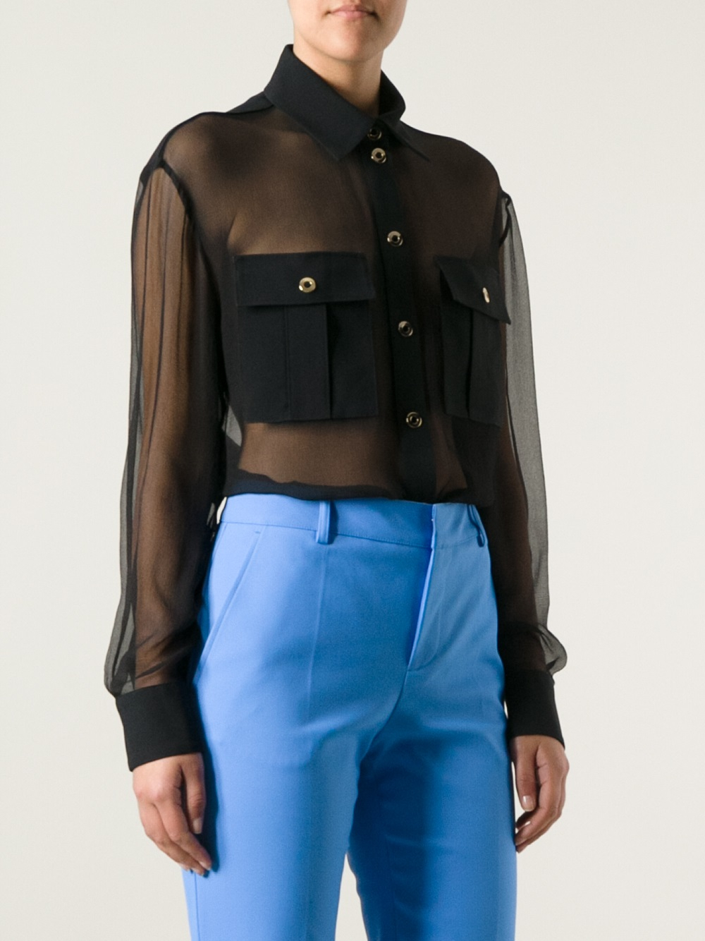 fe6862f33ed69 Emanuel Ungaro Sheer Shirt in Black - Lyst