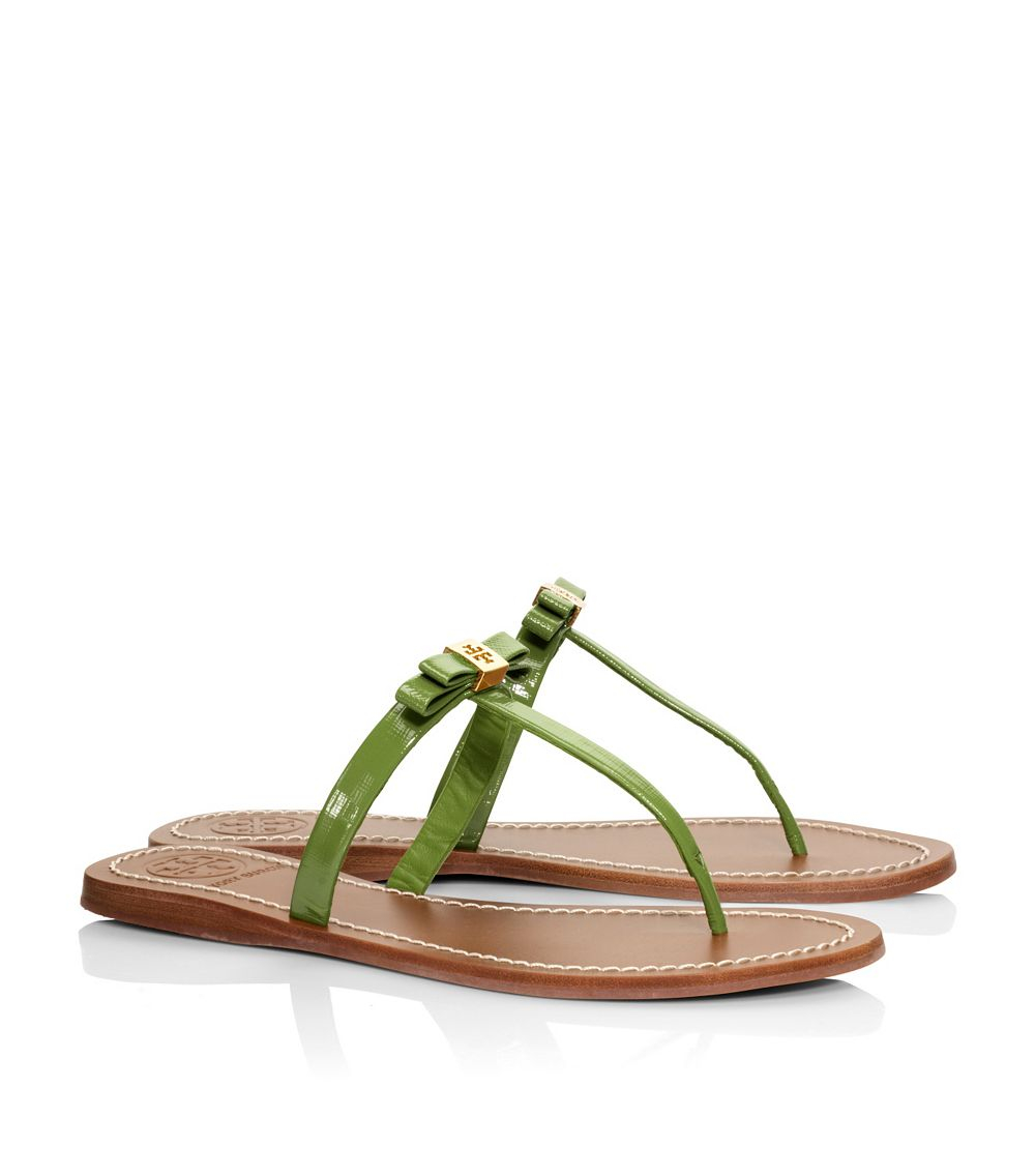 92b341a1e23 Lyst - Tory Burch Leighanne Patent Flat Thong Sandal in Green