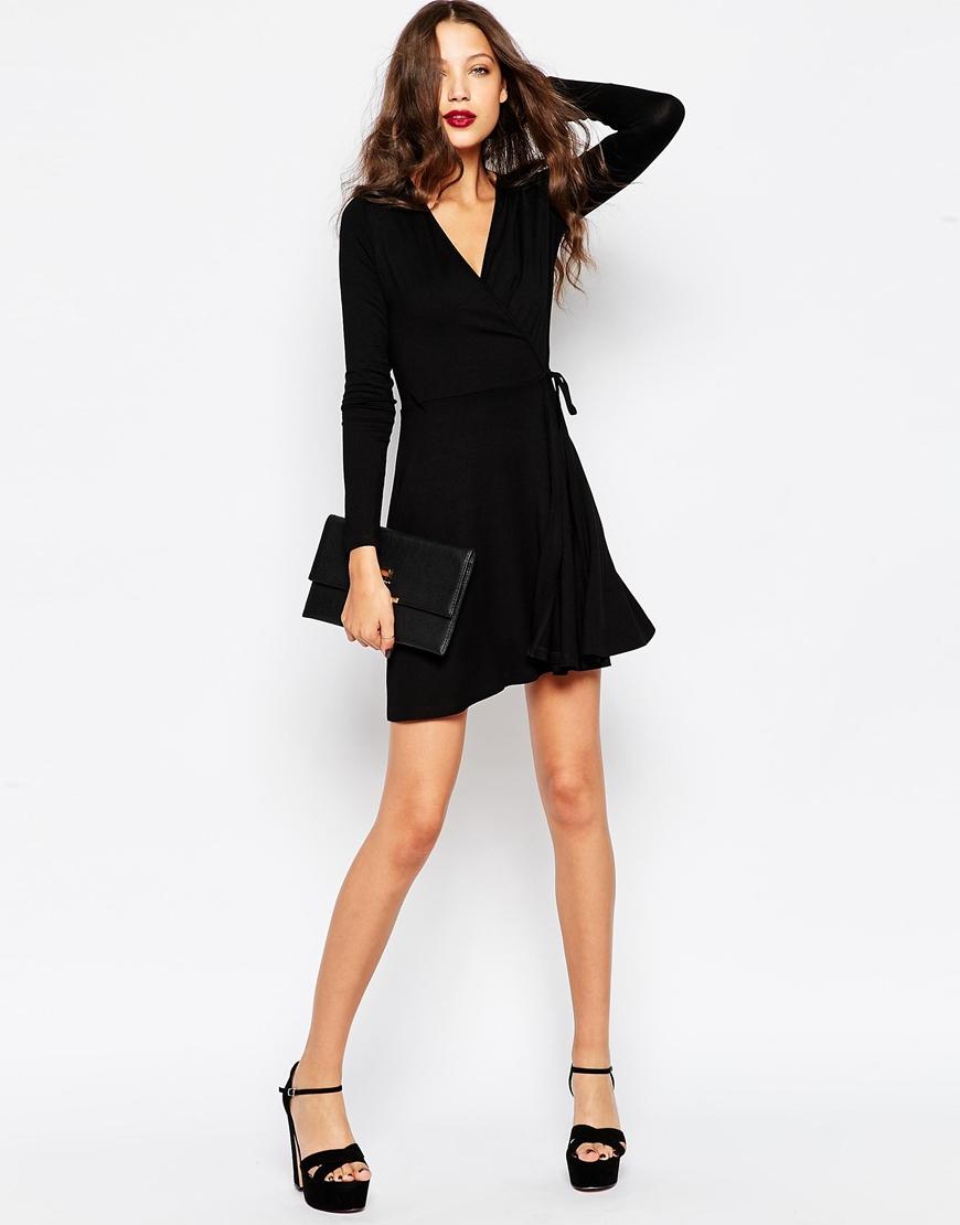 Asos Wrap Tea Dress With Long Sleeve in Black | Lyst