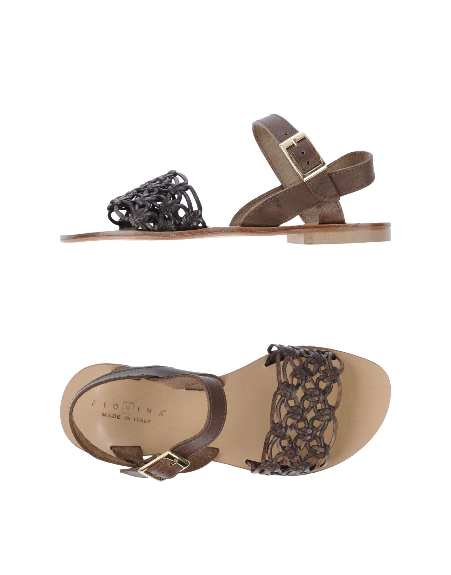 Fiorina Leather Flat Sandals In Brown (Dark Brown) | Lyst