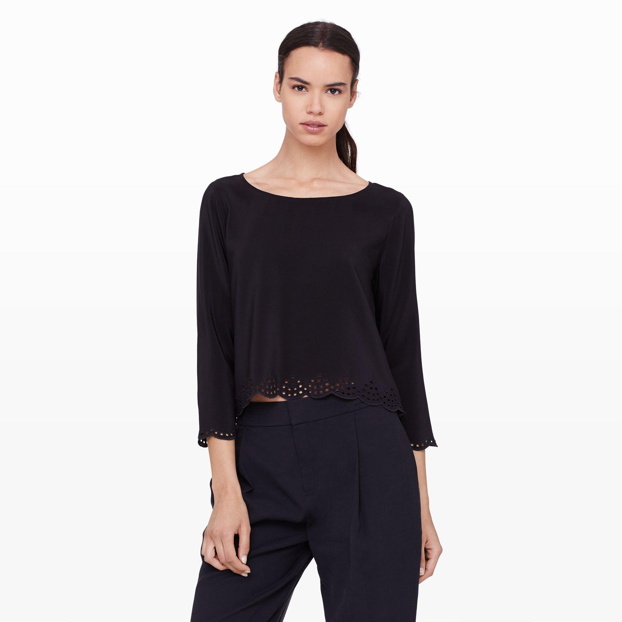 5999b93e0c1 Club Monaco Bridgette Silk Crop Top in Black - Lyst