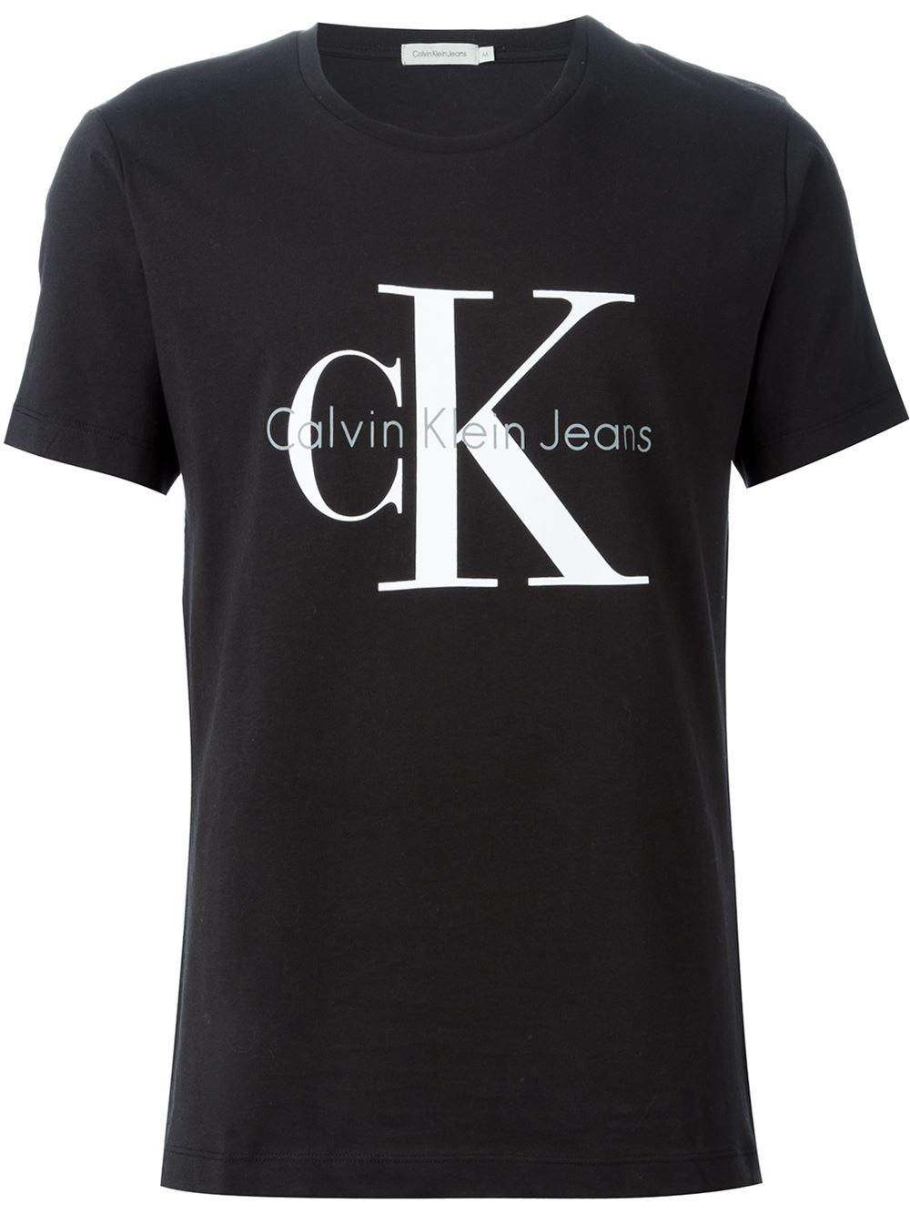 Lyst calvin klein jeans logo print t shirt in black for men for Print logo on shirt