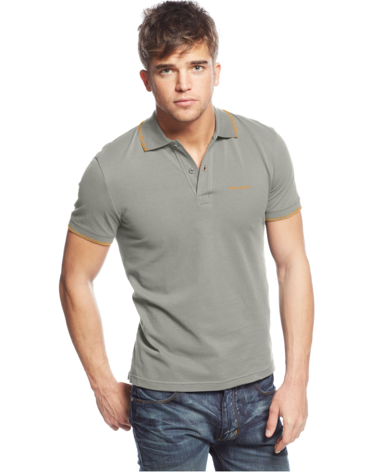 5ef48216a Armani Jeans Tipped Polo in Gray for Men - Lyst