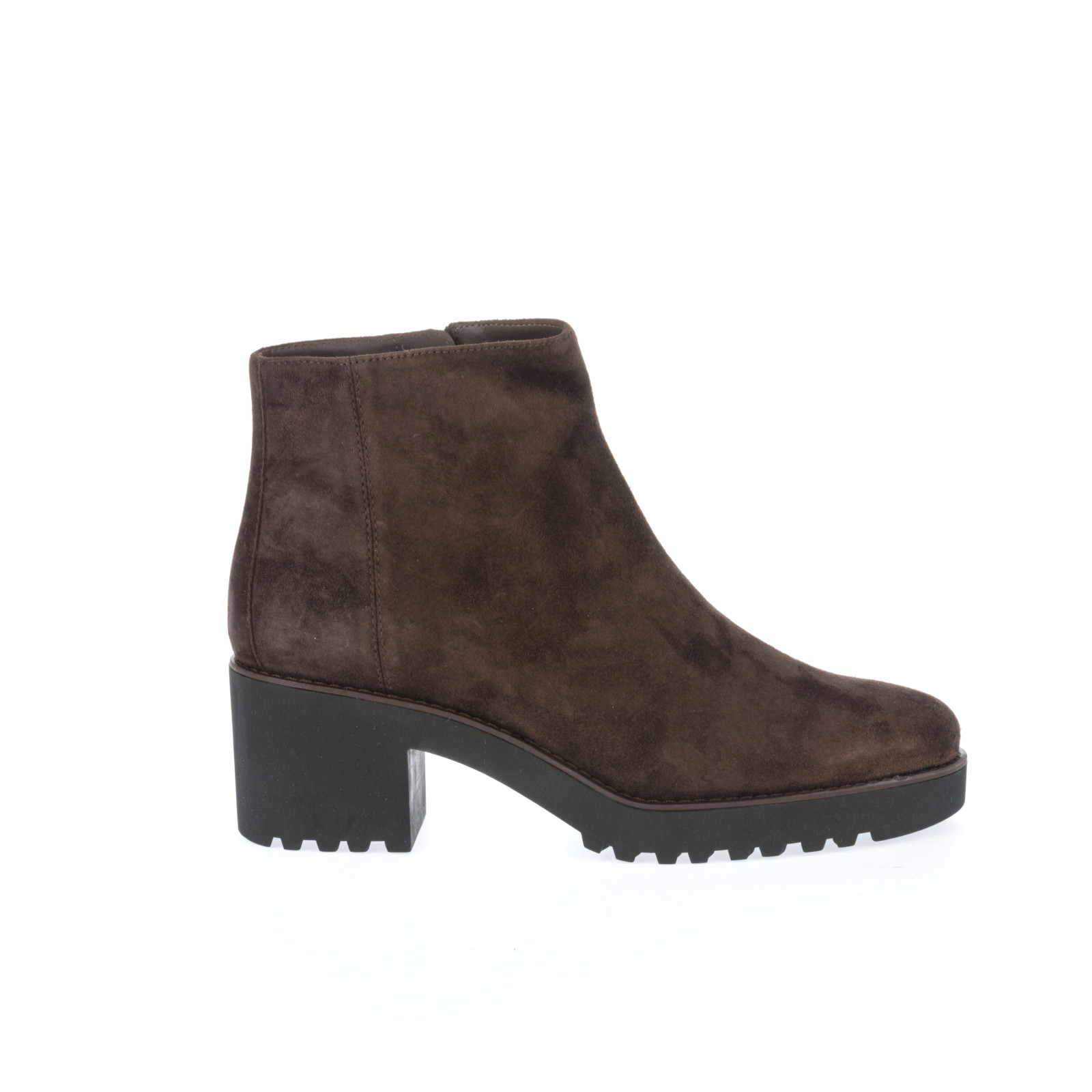 brown suede heeled ankle boots in brown marrone lyst