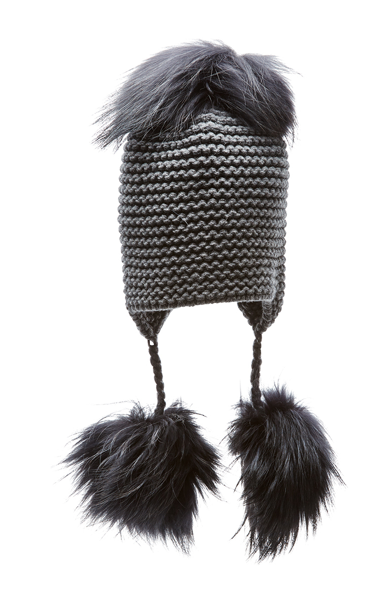 fox fur triple pom pom beanie hat - Grey inverni u8Q78cyt2