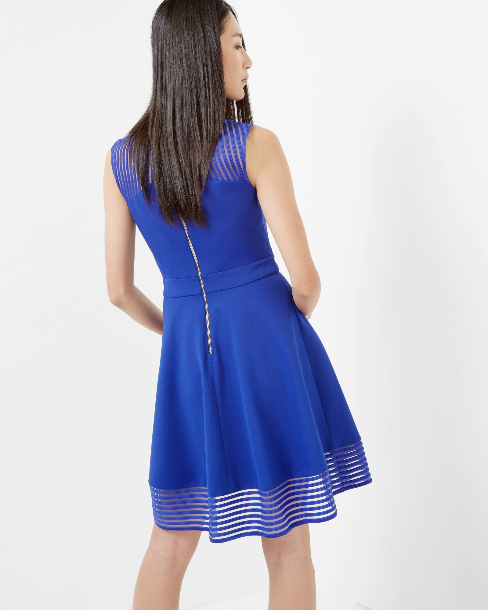 Ted Baker Eleese Striped Crepe Dress In Blue Lyst