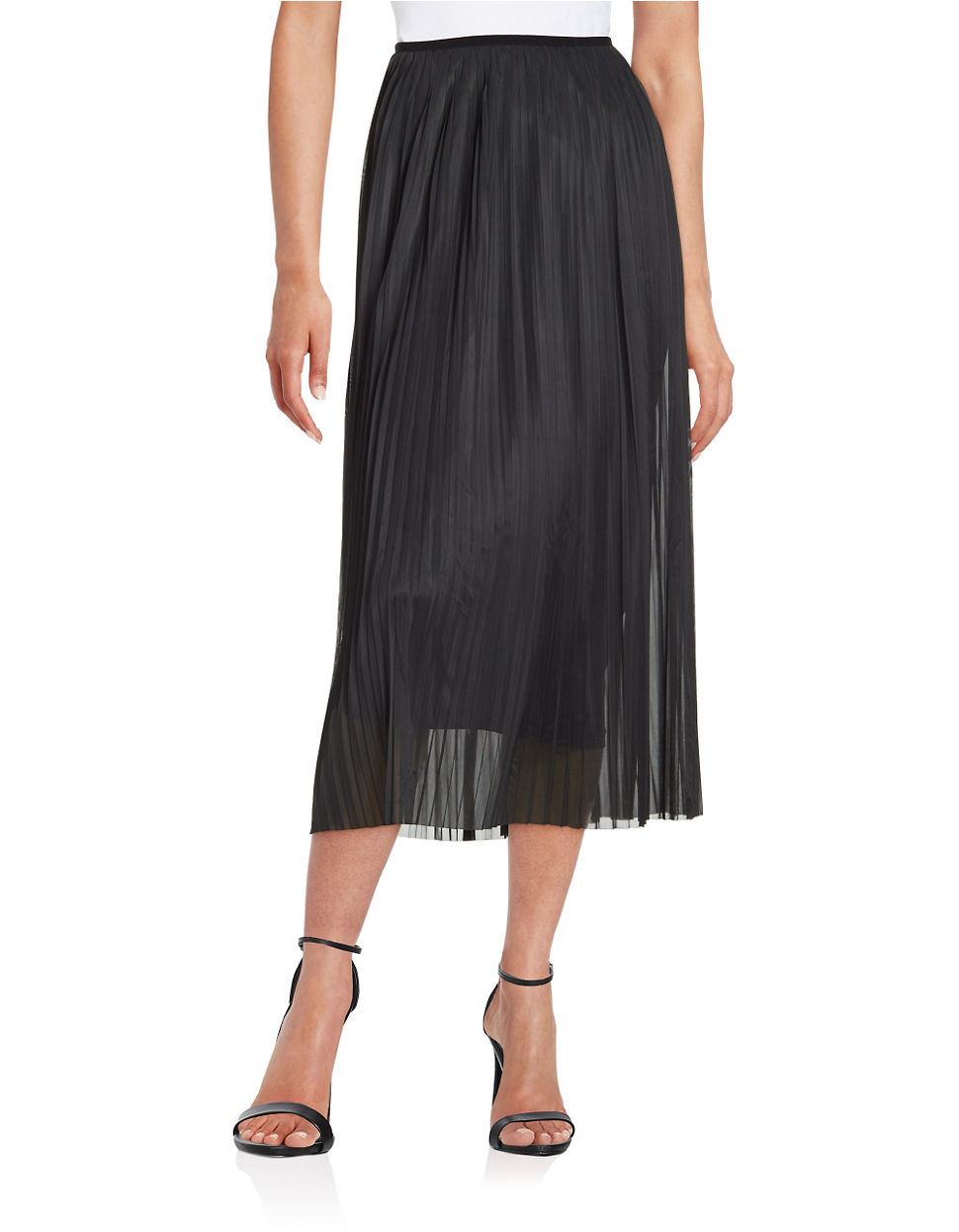 kensie pleated chiffon maxi skirt in black lyst