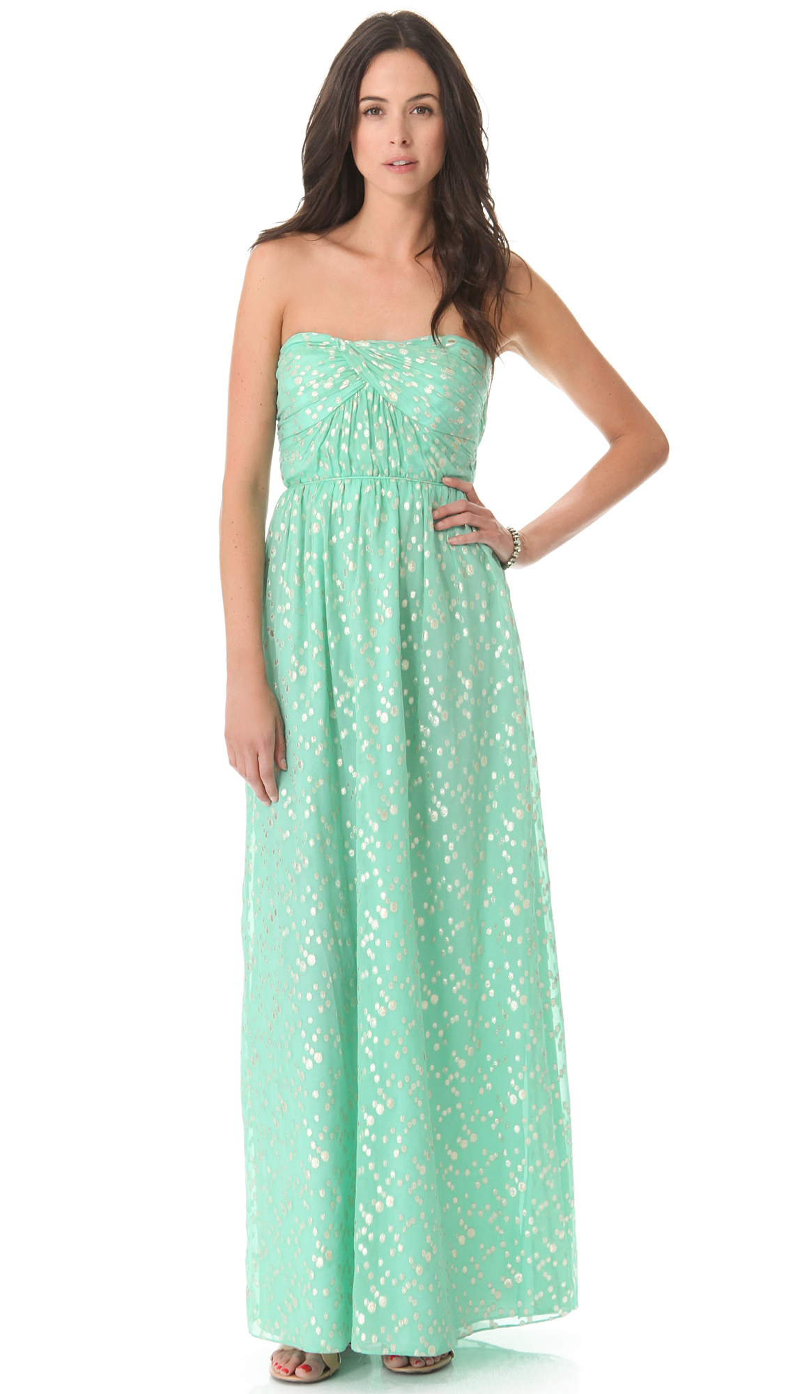 Shoshanna Jennifer Strapless Maxi Dress - Aqua in Blue - Lyst