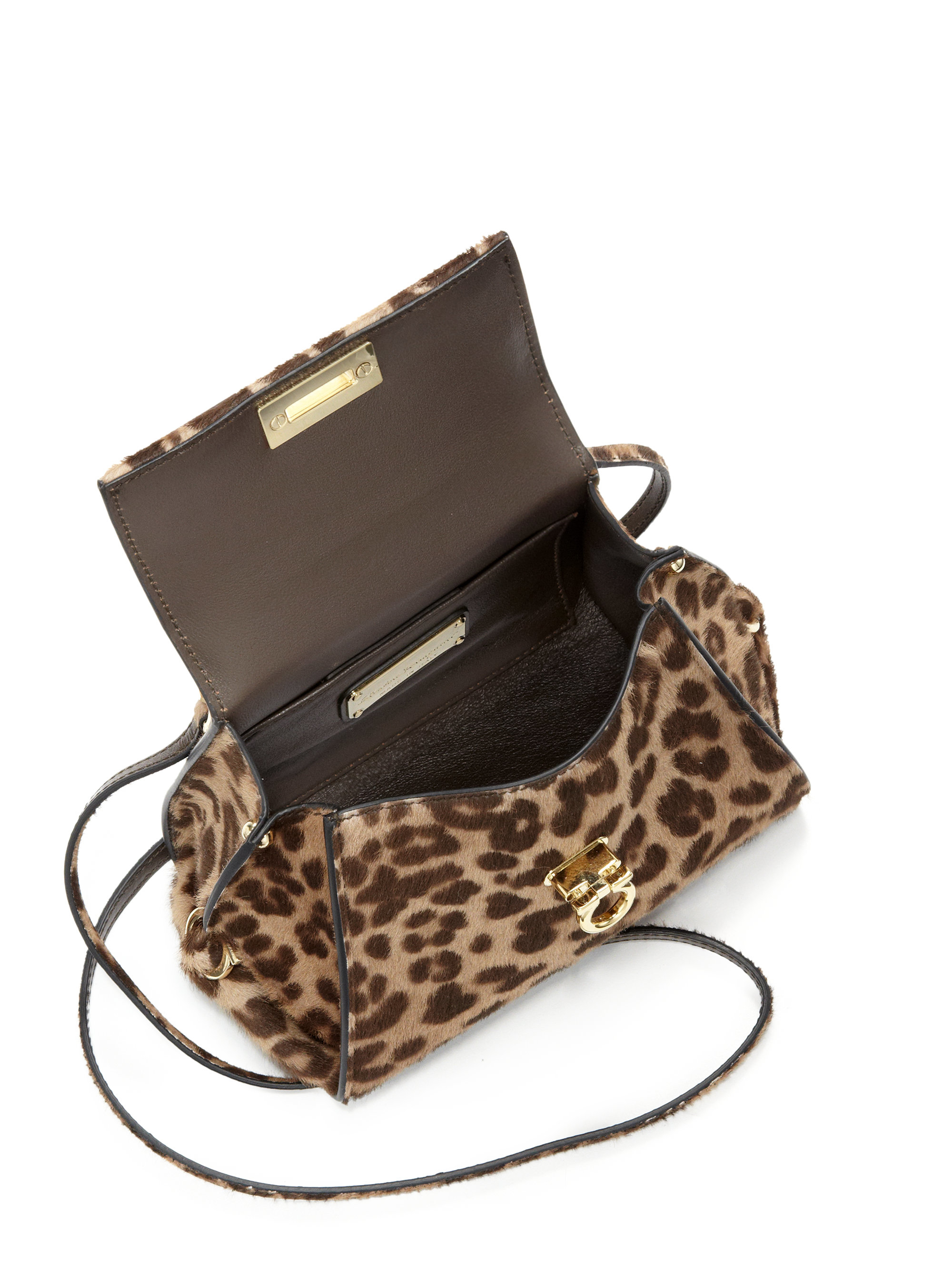 5694e732742f Ferragamo Sofia Leopard-print Calf Hair Satchel - Lyst
