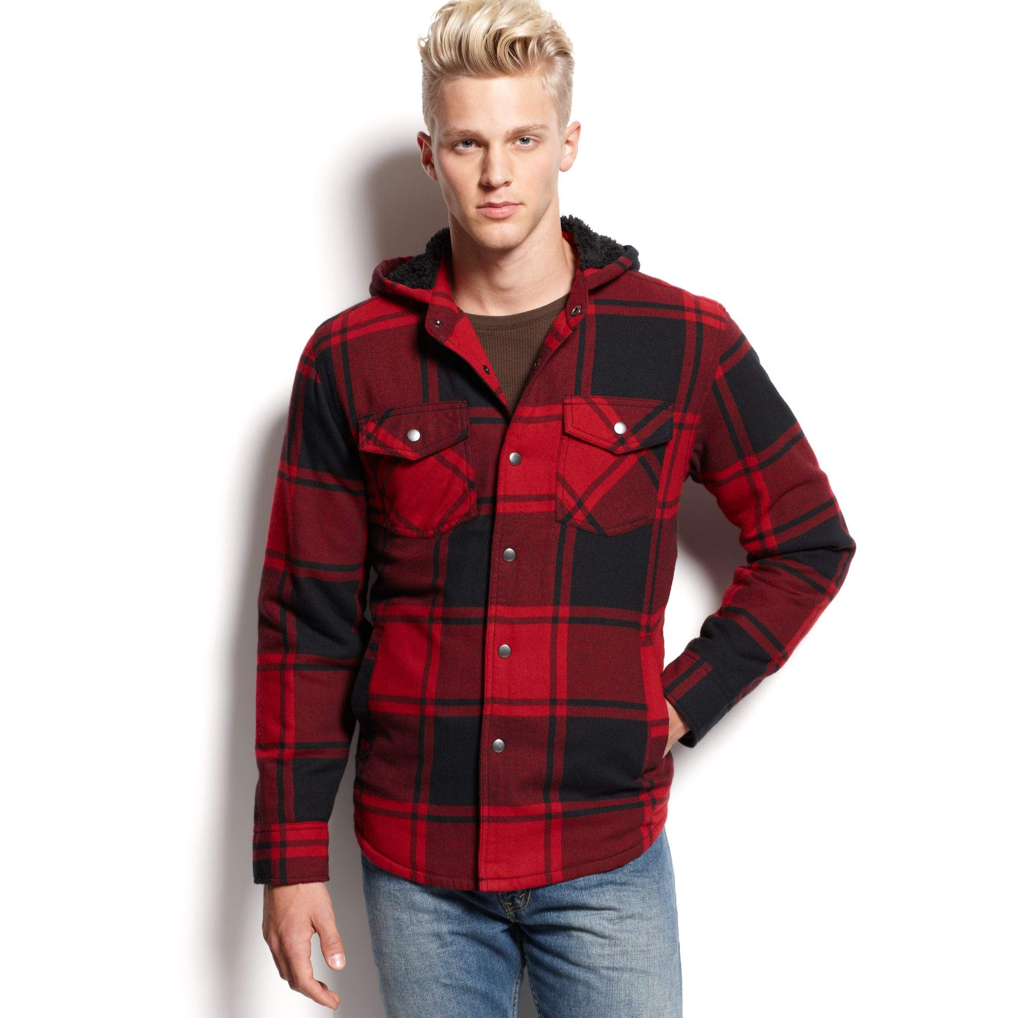 American rag Plaid Shirt Jacket in Red for Men | Lyst