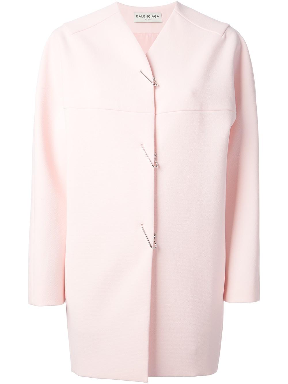 Balenciaga Collarless Coat in Pink | Lyst