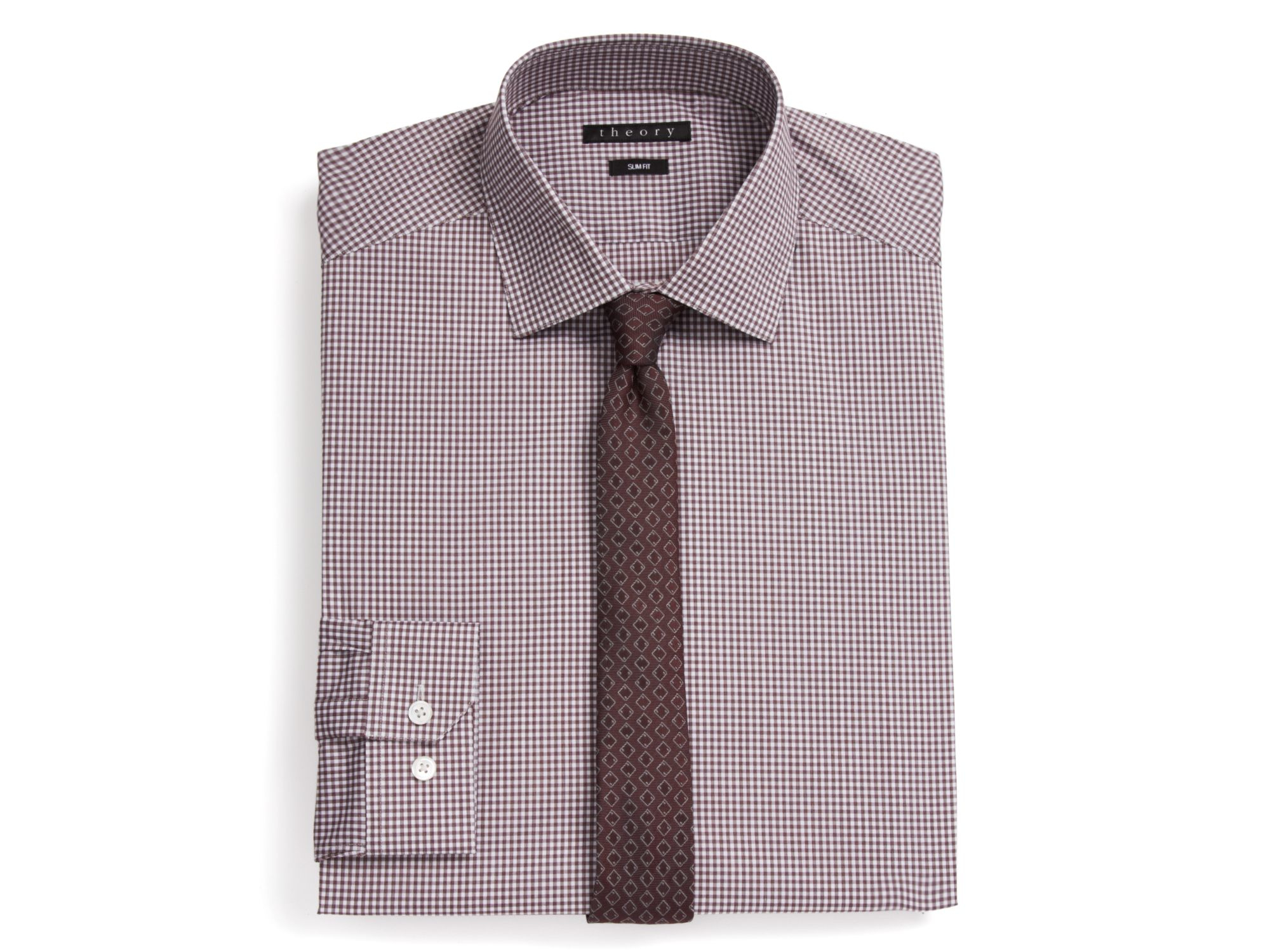 Theory Sheldon Gingham Check Dress Shirt Slim Fit In