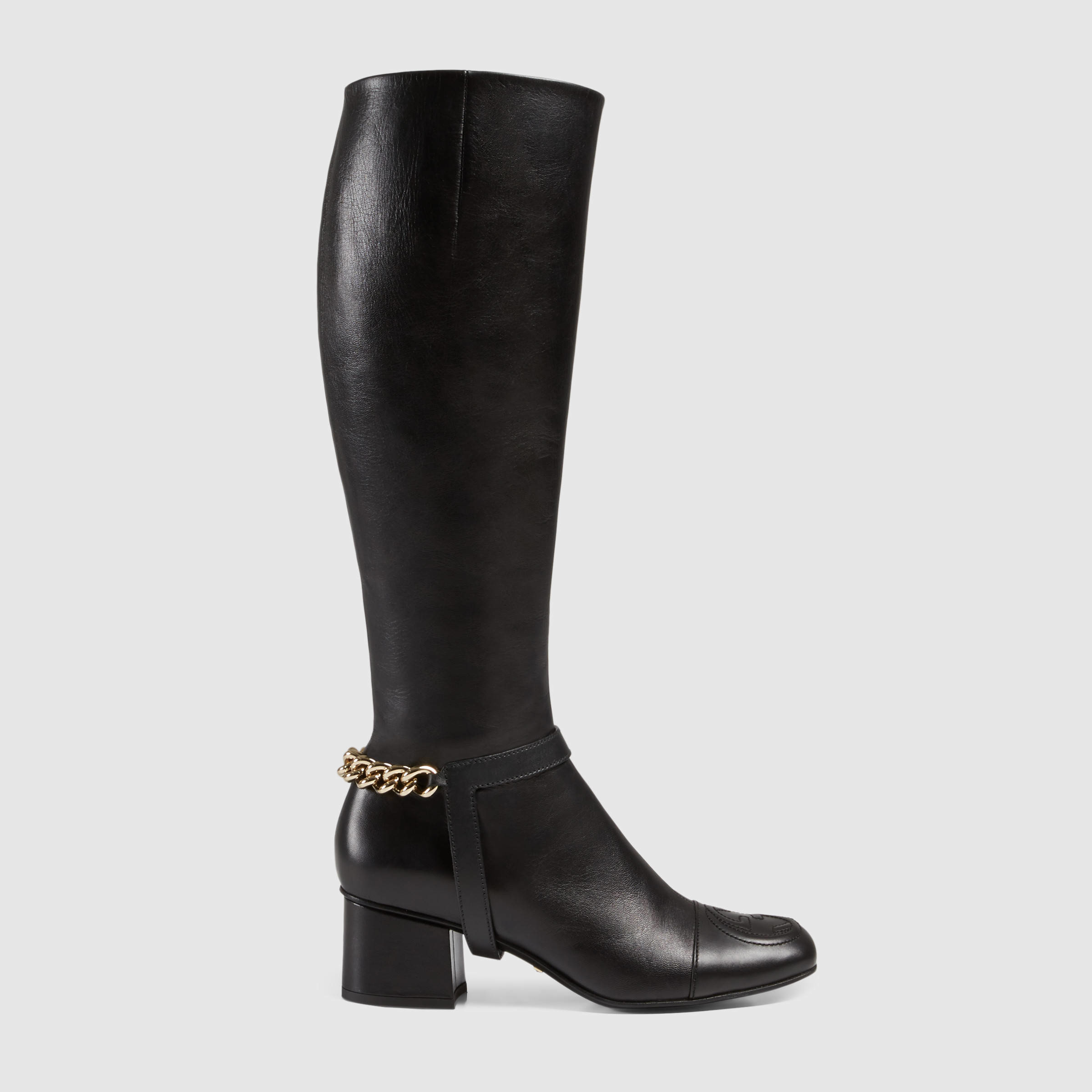 gucci soho leather knee boot in black black leather lyst